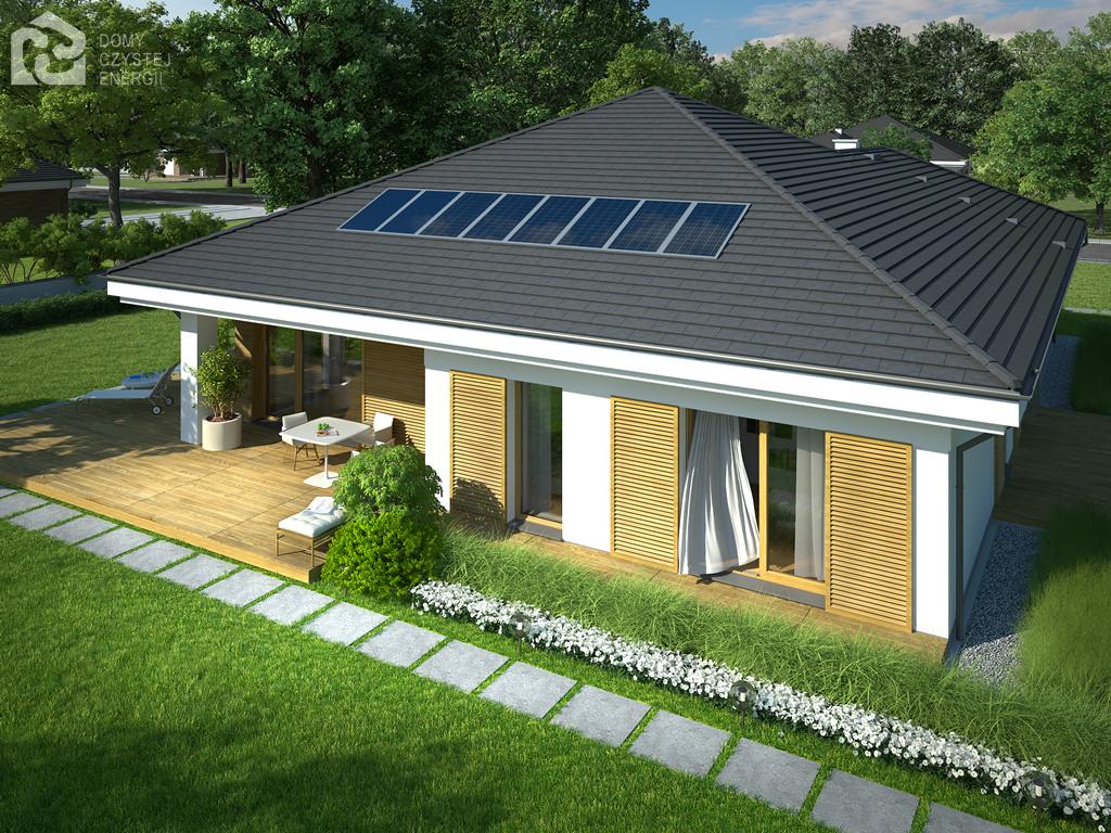 Projekt domu SKRZĘTNY Domy Czystej Energii widok od ogrodu