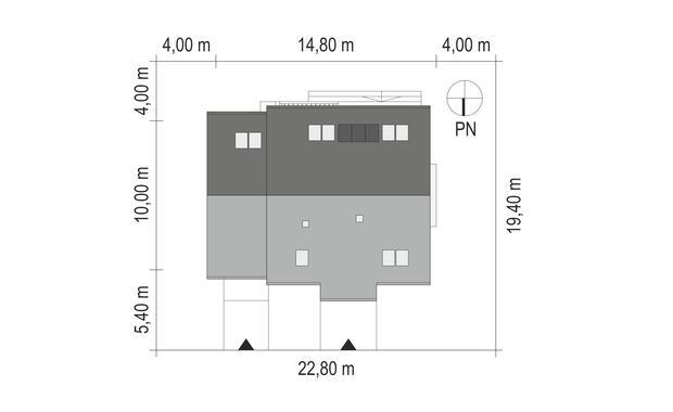 Projekt domu SPOKOJNY Domy Czystej Energii rzut działki