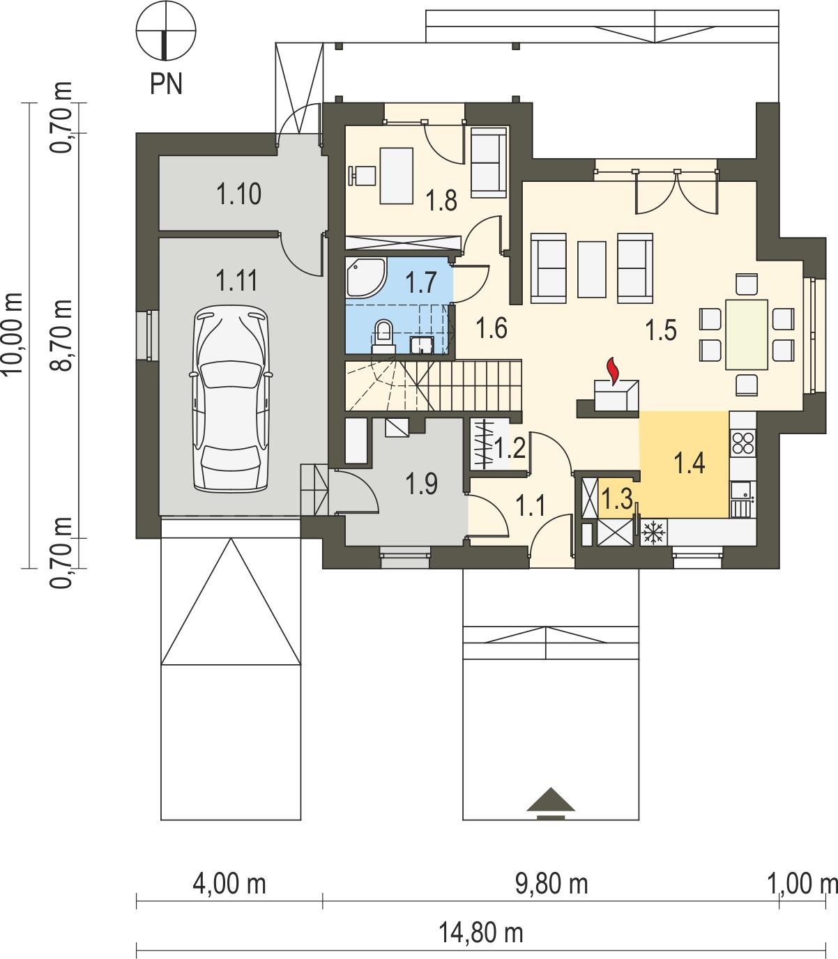 Projekt domu SPOKOJNY Domy Czystej Energii rzut parteru
