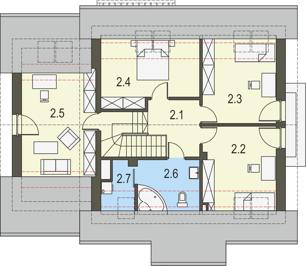 Projekt domu SPOKOJNY Domy Czystej Energii rzut piętra