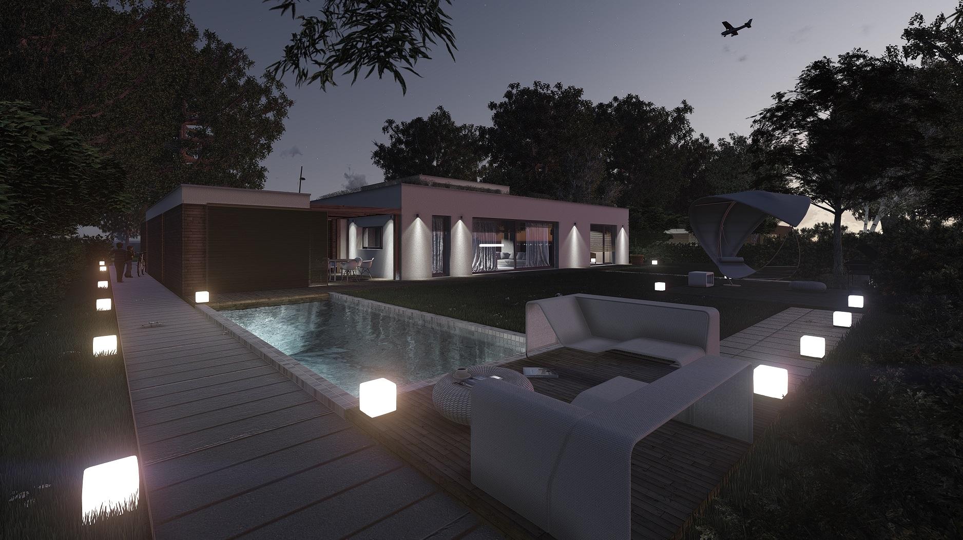 Projekt domu pasywnego DAS HAUS II Domy Czystej Energii widok od ogrodu nocą