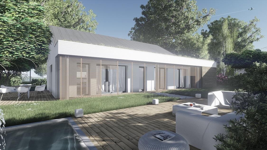 Projekt domu pasywnego DAS HAUS I Domy Czystej Energii widok od ogrodu w dzień