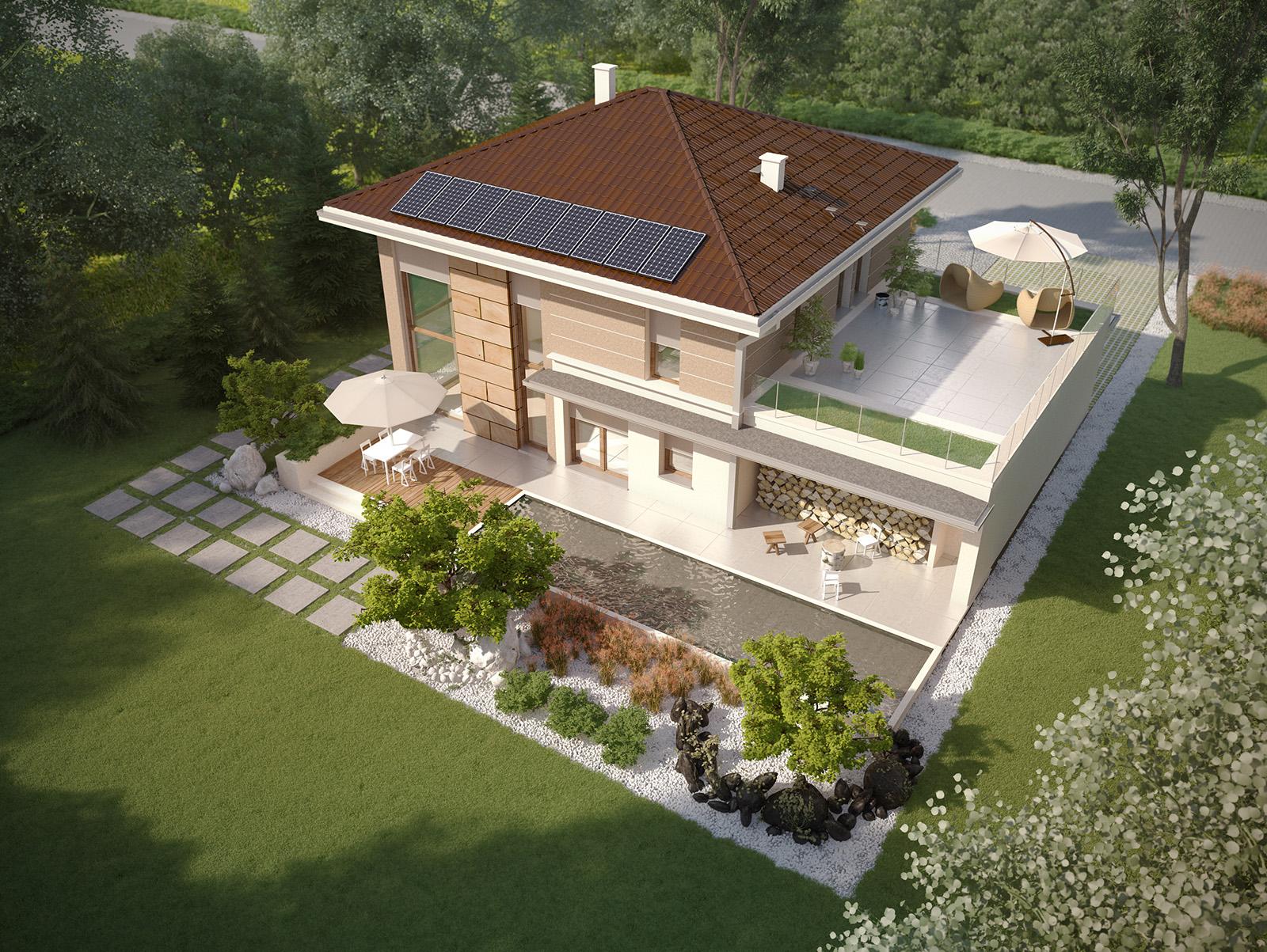 Projekt domu SOLIDNY Domy Czystej Energii widok od ogrodu