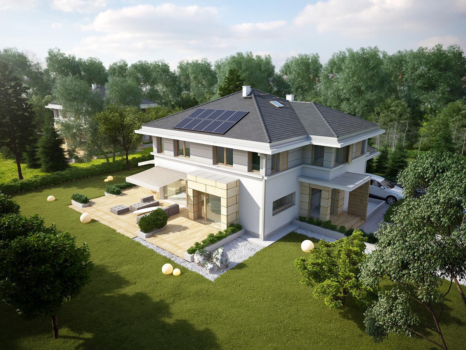 Projekt domu PRZYJEMNY Domy Czystej Energii widok od boku i od ogrodu