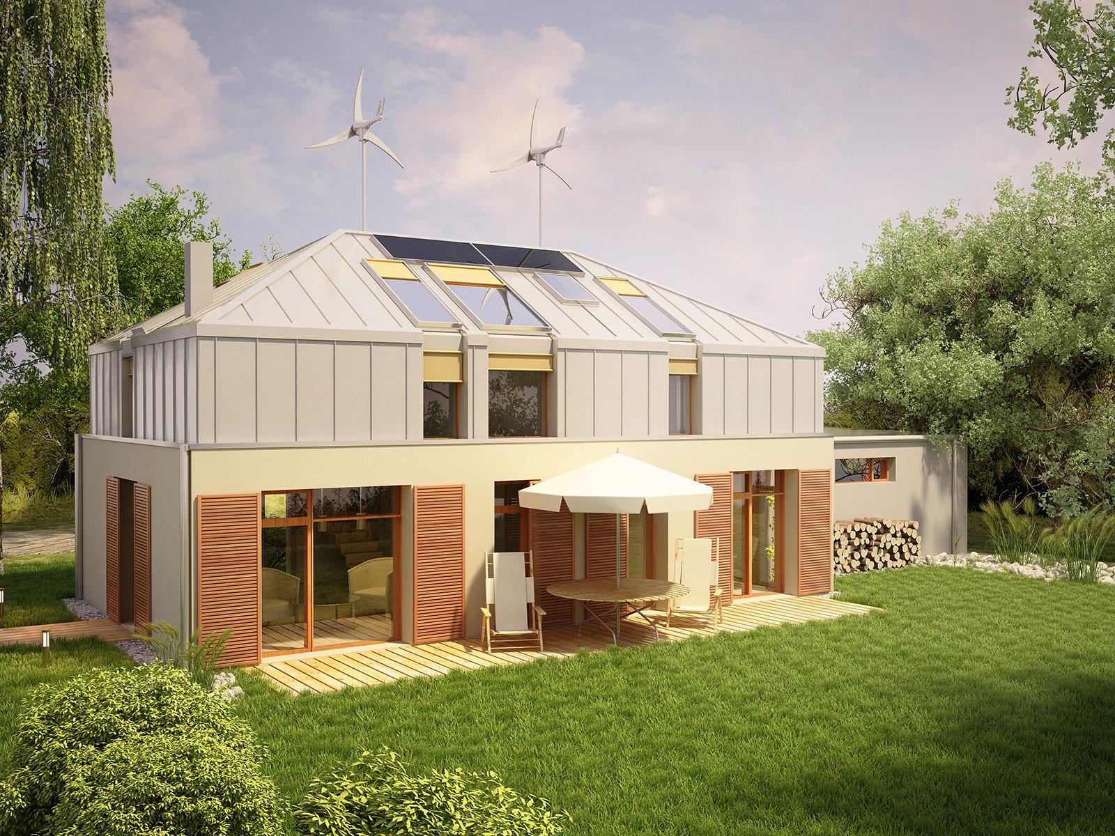 Projekt domu MANSARDA Domy Czystej Energii widok od ogrodu