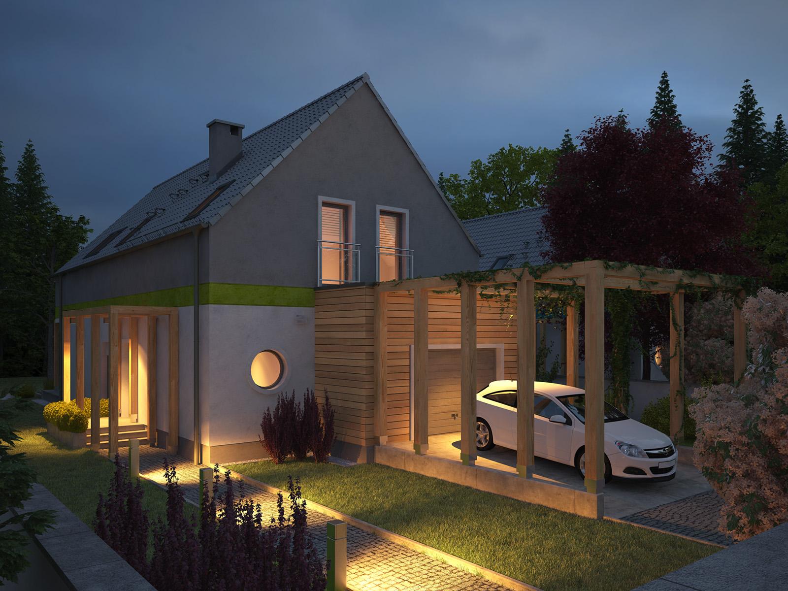 Projekt domu MAŁY I WĄSKI Domy Czystej Energii widok od frontu i z boku