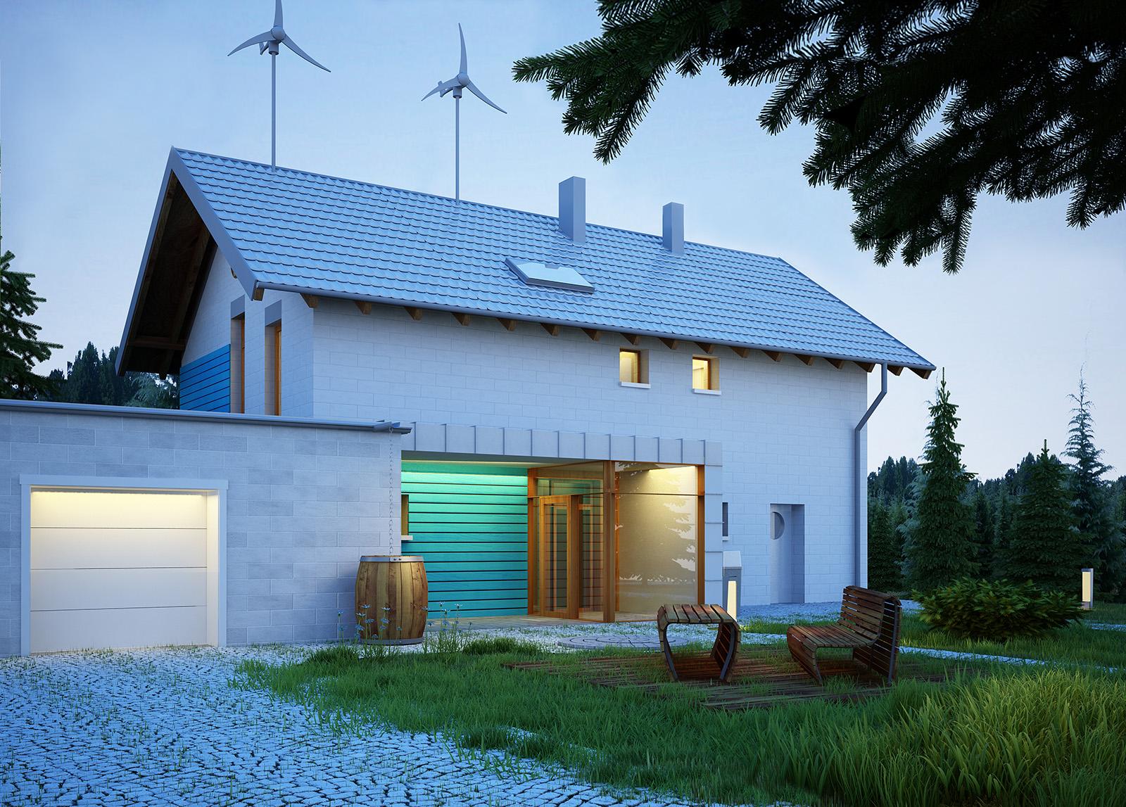 Projekt domu SAMOWYSTARCZALNY Domy Czystej Energii widok od frontu