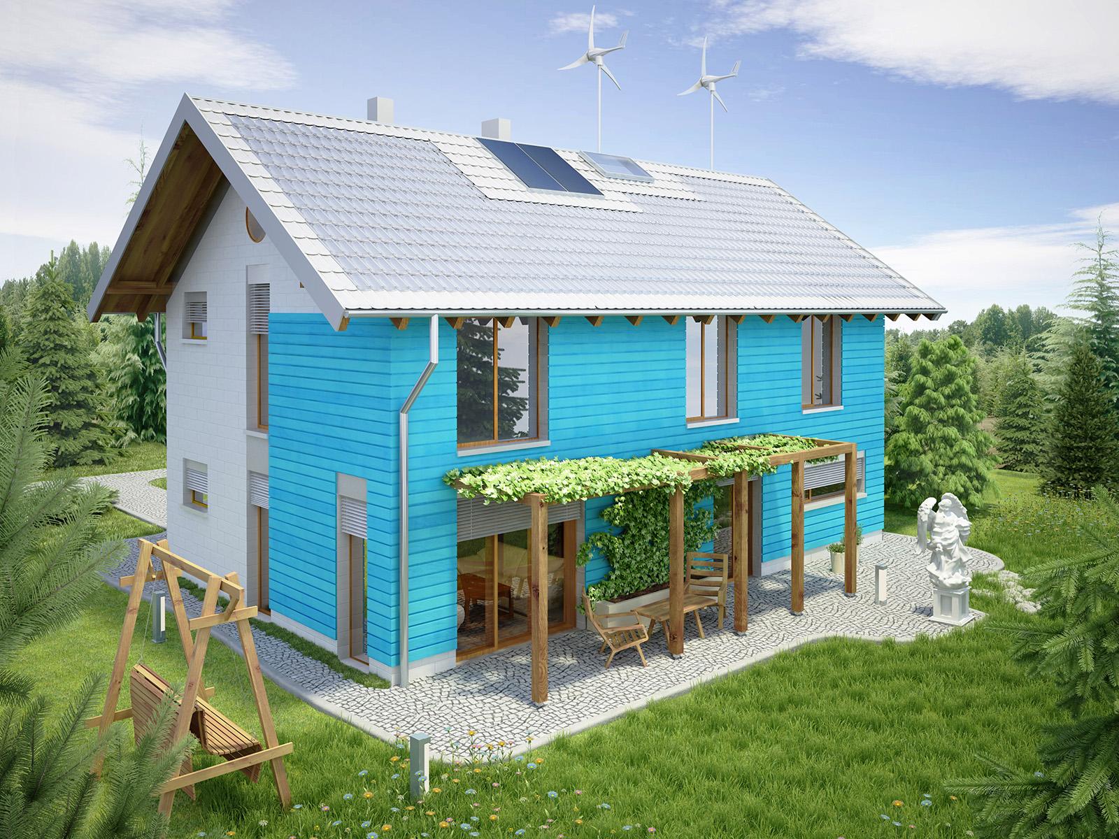 Projekt domu SAMOWYSTARCZALNY Domy Czystej Energii widok od ogrodu
