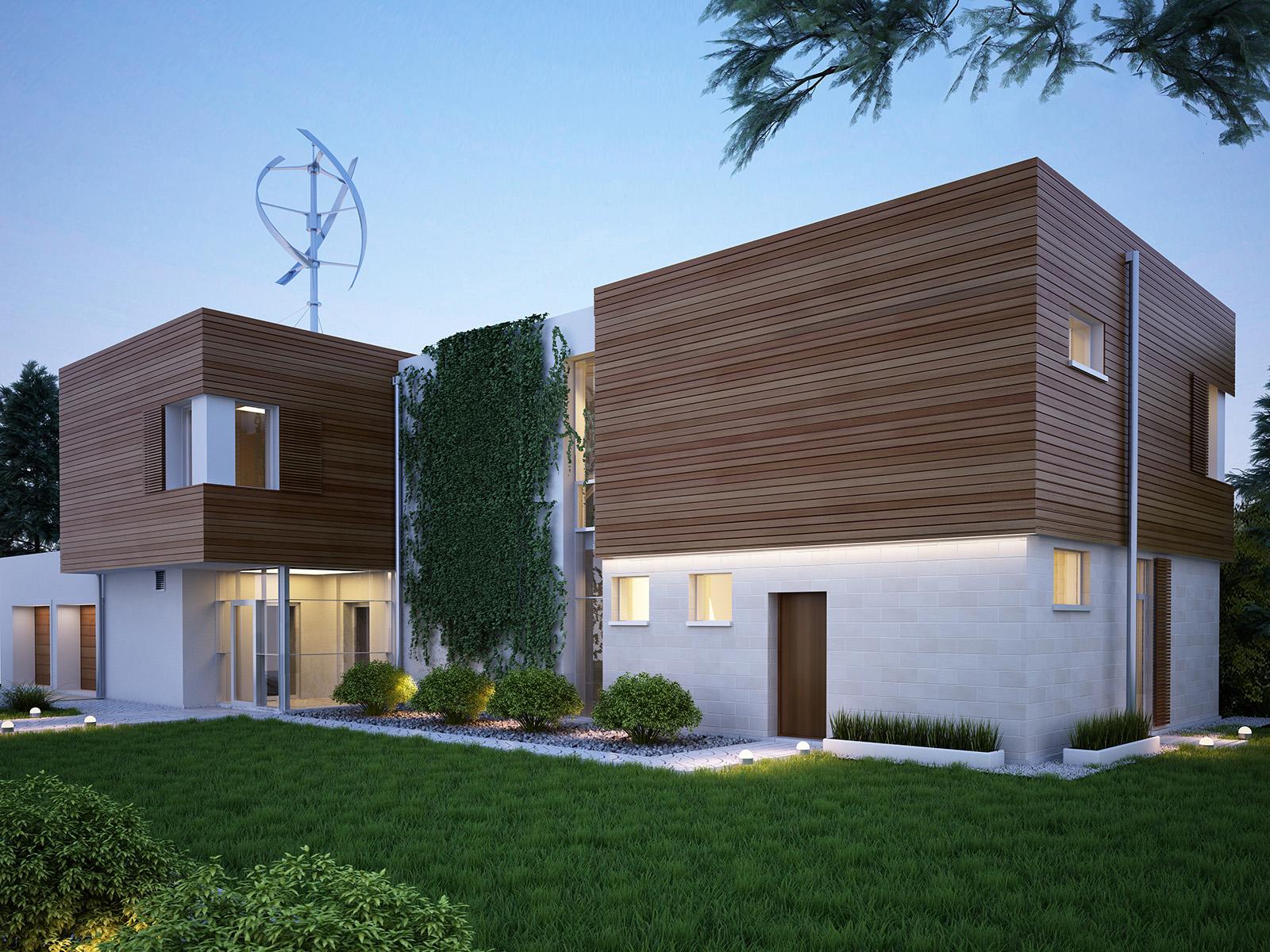 Projekt domu KOMFORTOWY Domy Czystej Energii widok od frontu