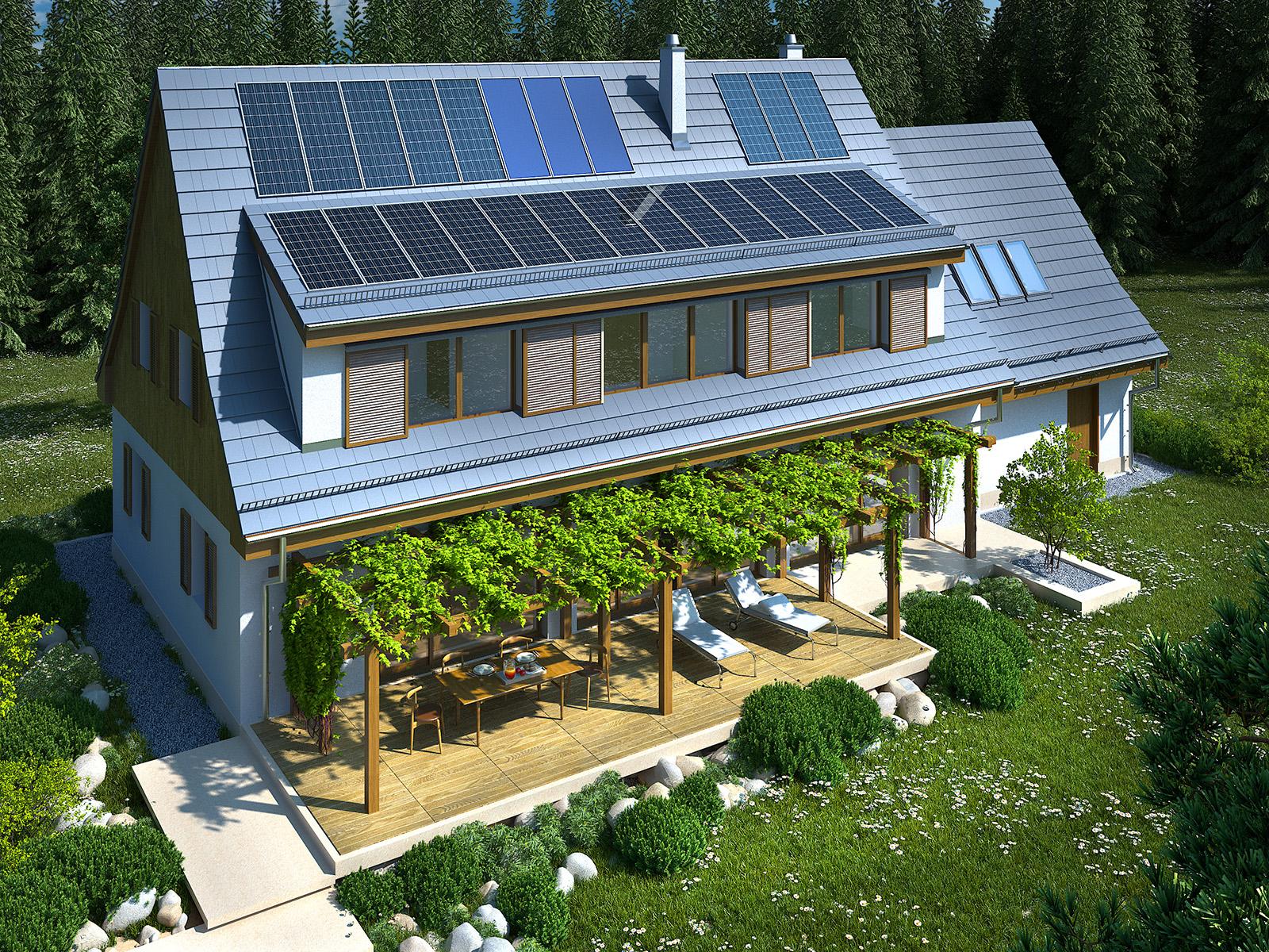 Projekt domu SUDECKI Domy Czystej Energii widok od ogrodu