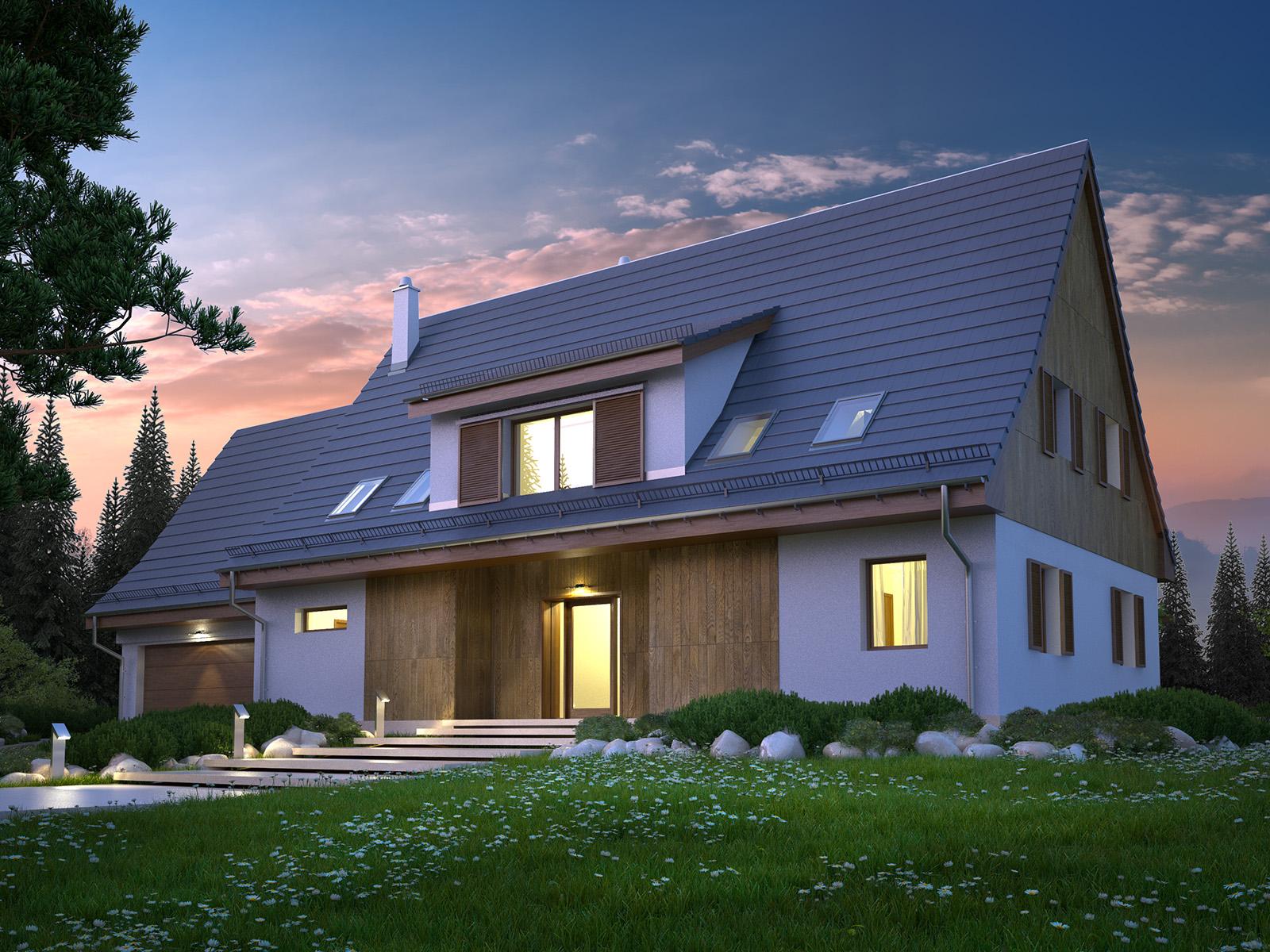 Projekt domu SUDECKI Domy Czystej Energii widok od frontu
