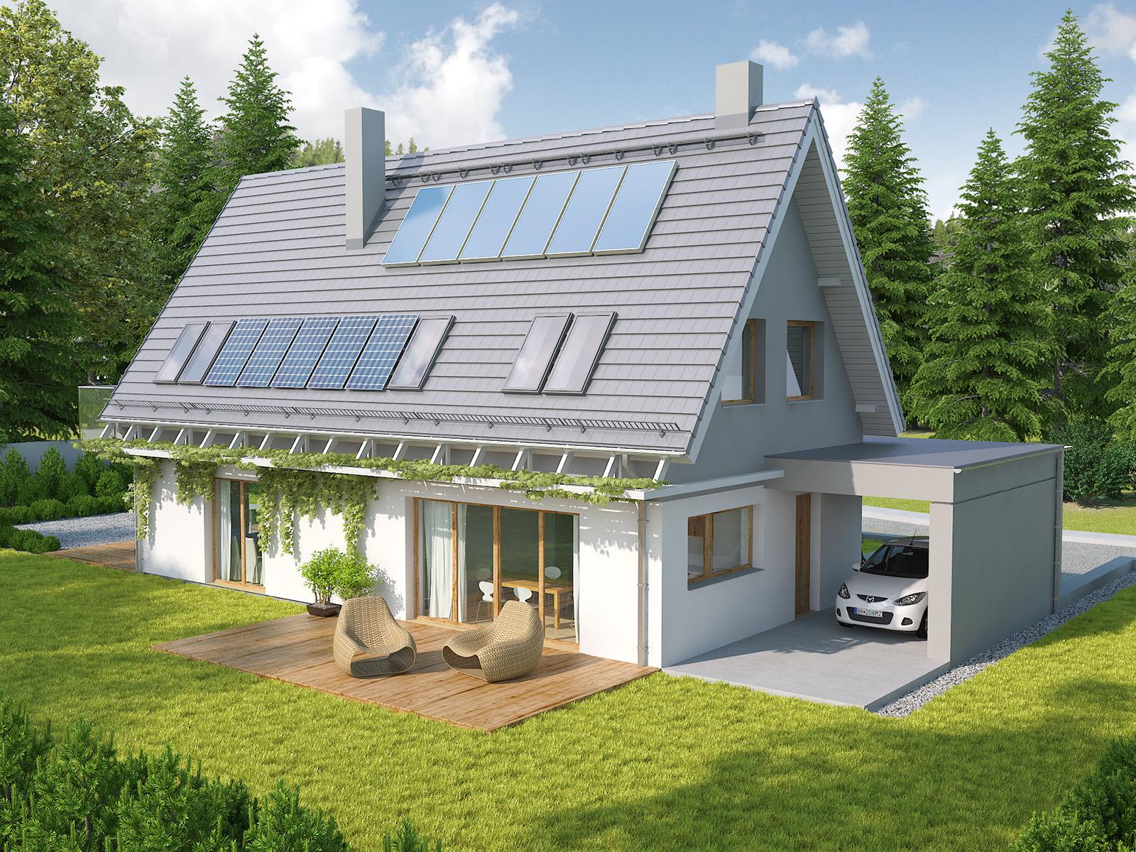 Projekt domu Z WIDOKIEM Domy Czystej Energii widok od boku i od frontu