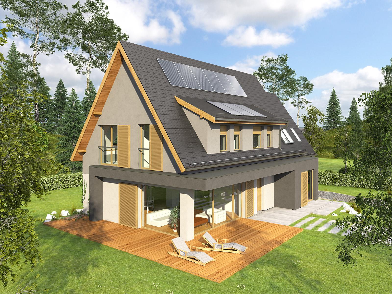 Projekt domu OTWARTY Domy Czystej Energii widok od ogrodu