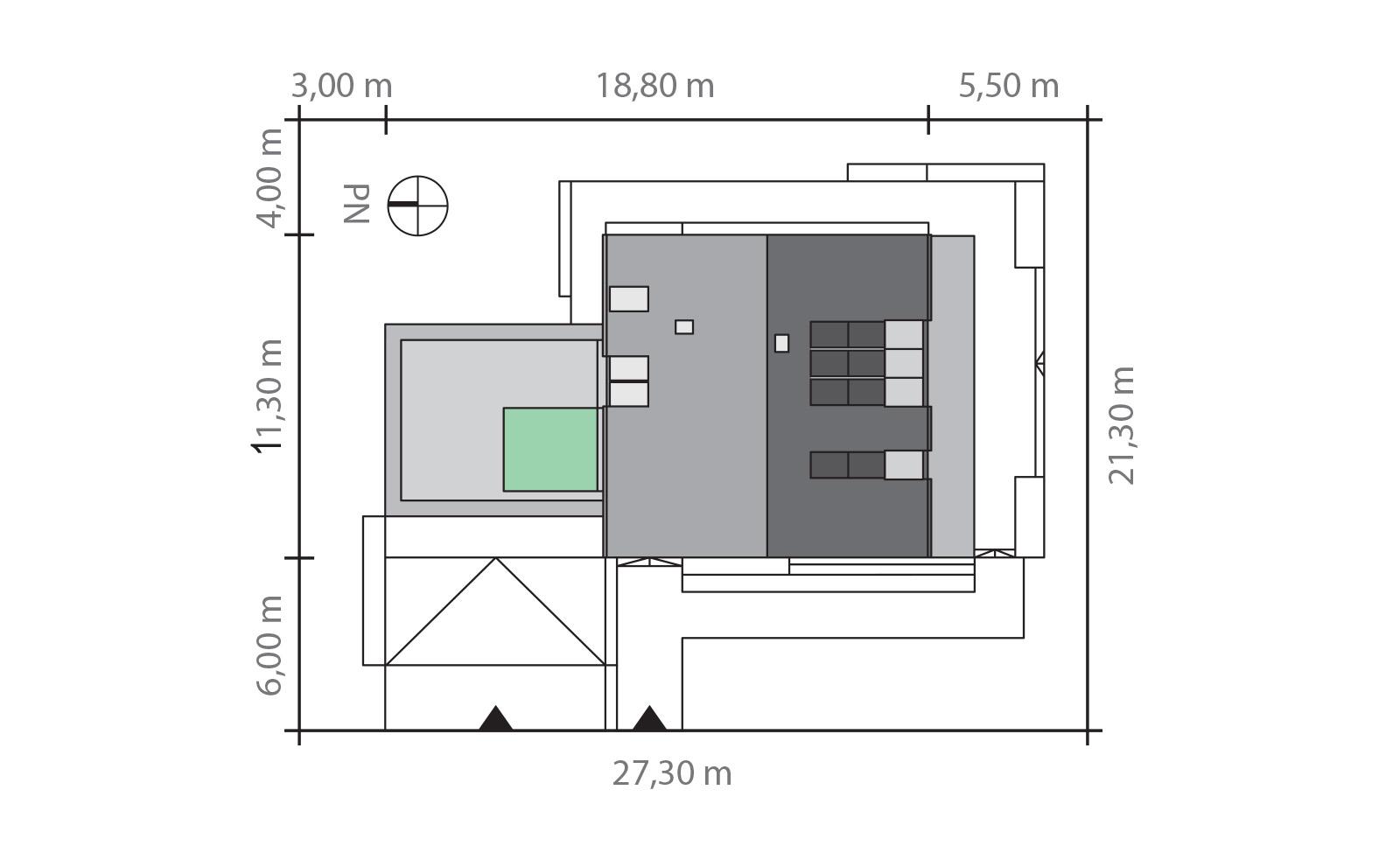 Projekt domu 2 PLUS 1 Domy Czystej Energii rzut działki
