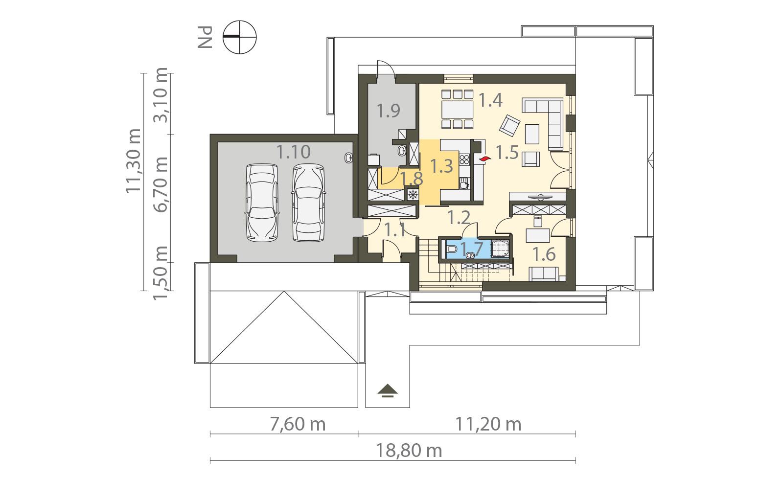 Projekt domu 2 PLUS 1 Domy Czystej Energii rzut parteru
