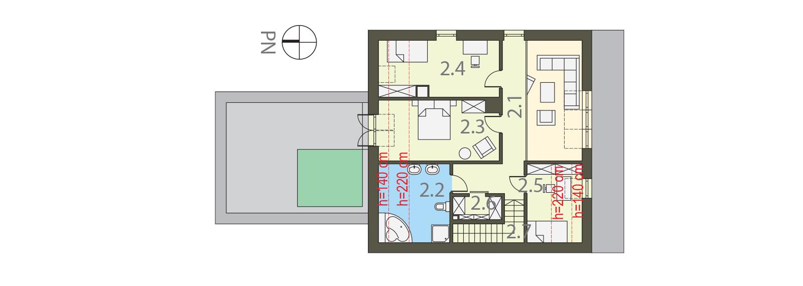 Projekt domu 2 PLUS 1 Domy Czystej Energii rzut piętra