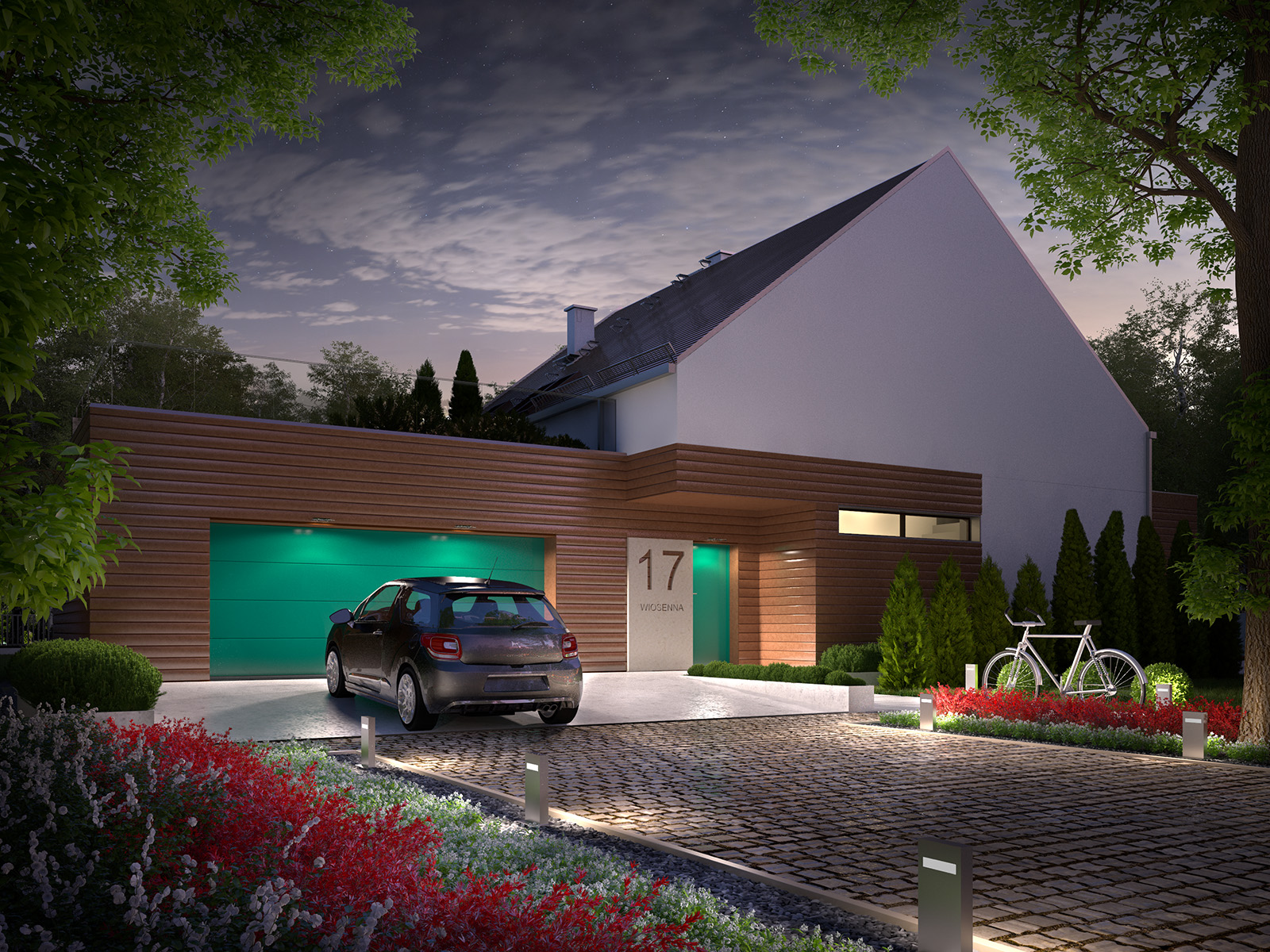 Projekt domu 2 PLUS 1 Domy Czystej Energii widok od frontu