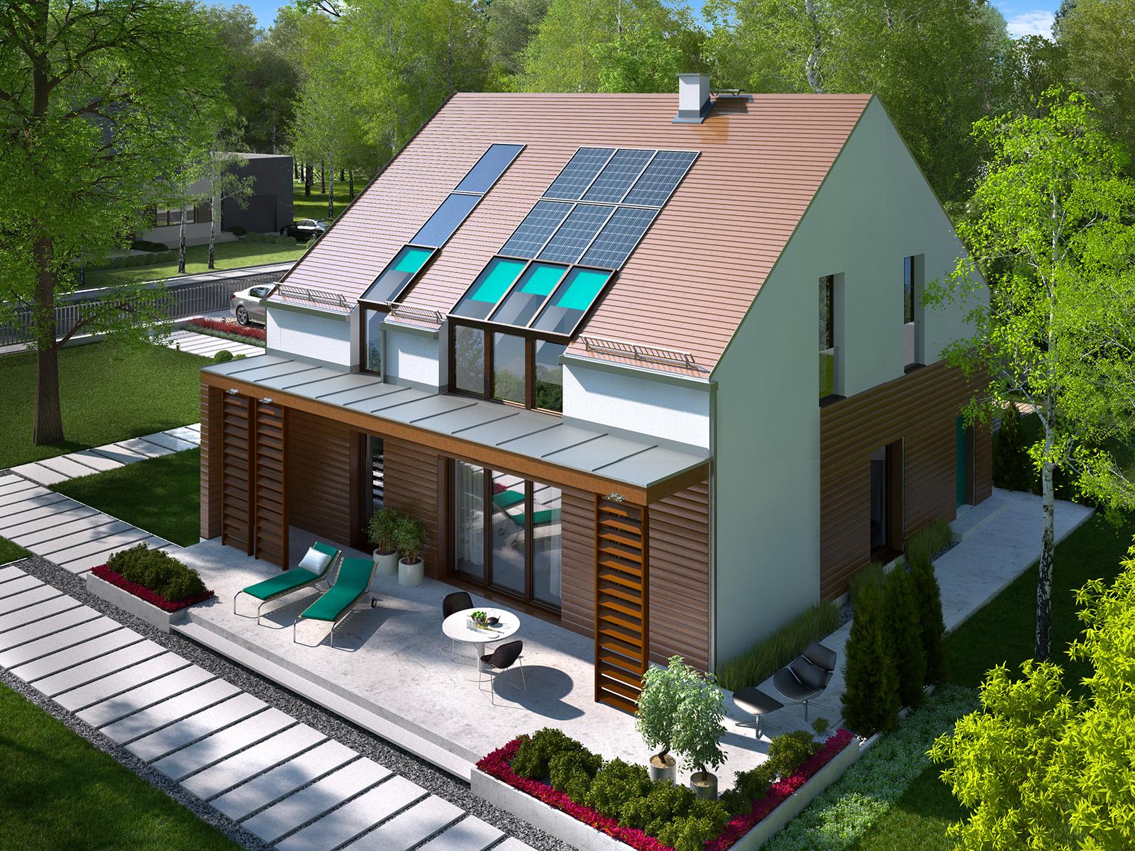 Projekt domu 2 PLUS 1 Domy Czystej Energii widok od ogrodu