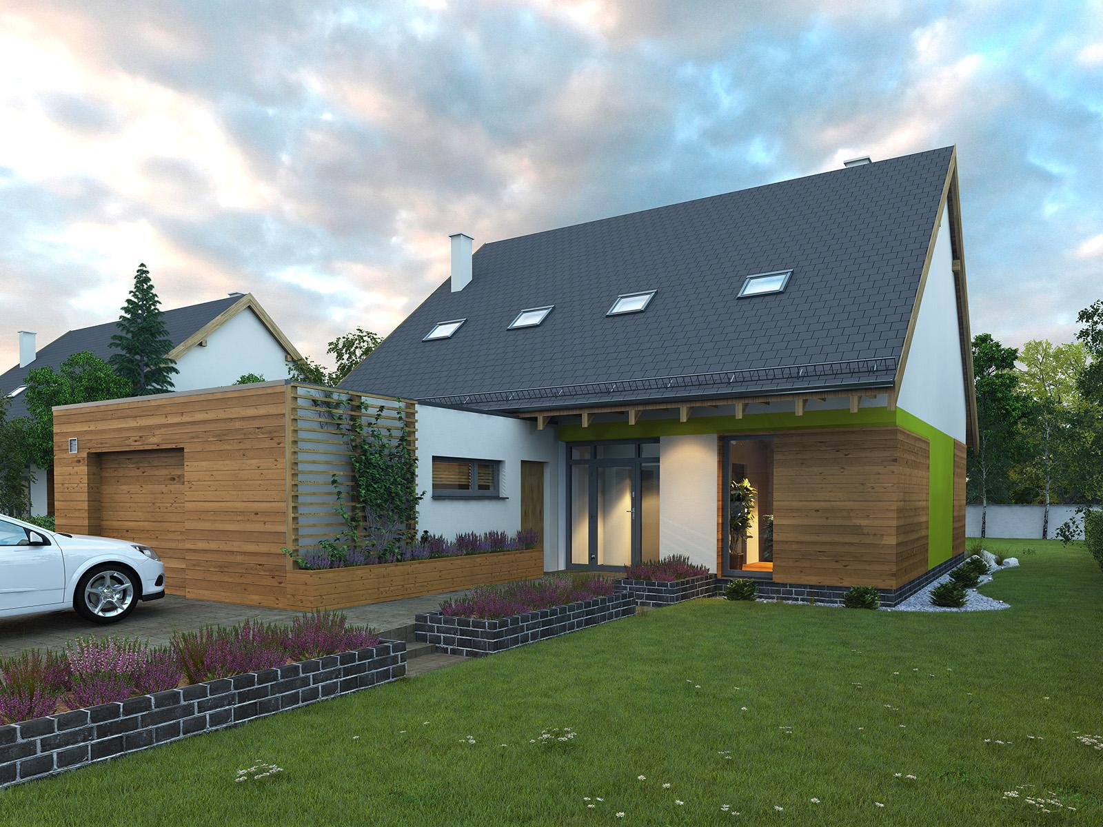 Projekt domu POGODNY Domy Czystej Energii widok od frontu