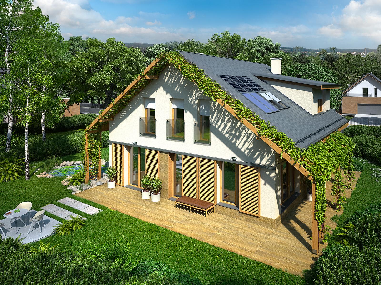 Projekt domu PRZYTULNY Domy Czystej Energii widok od ogrodu