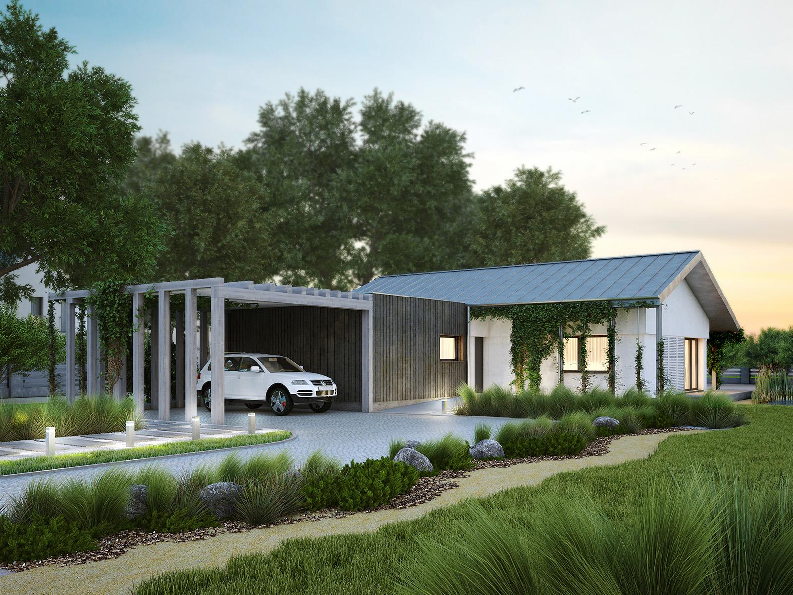 Projekt domu NIZINNY Domy Czystej Energii widok od frontu