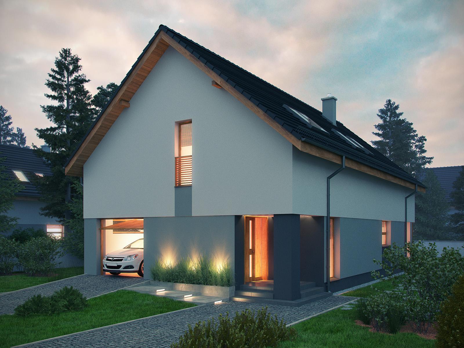 Projekt domu PRAKTYCZNY Domy Czystej Energii widok od frontu