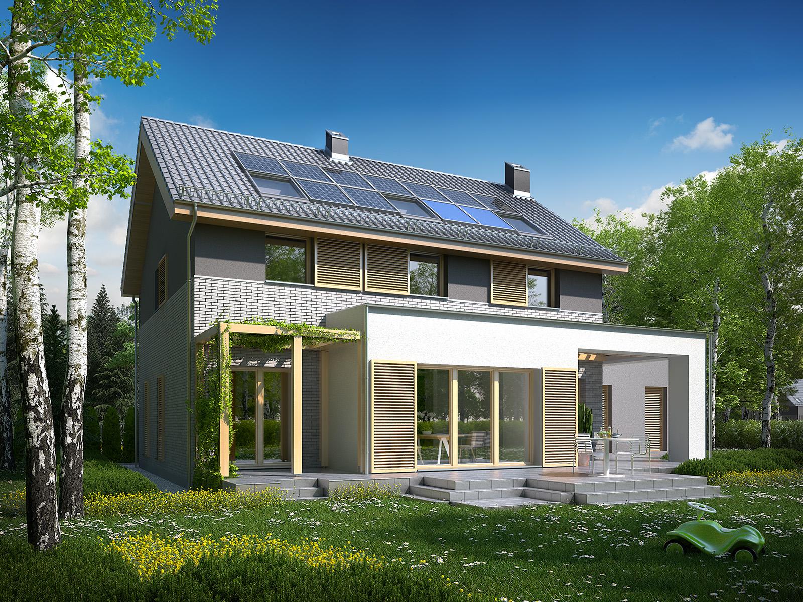 Projekt domu SIELSKI Domy Czystej Energii widok od ogrodu