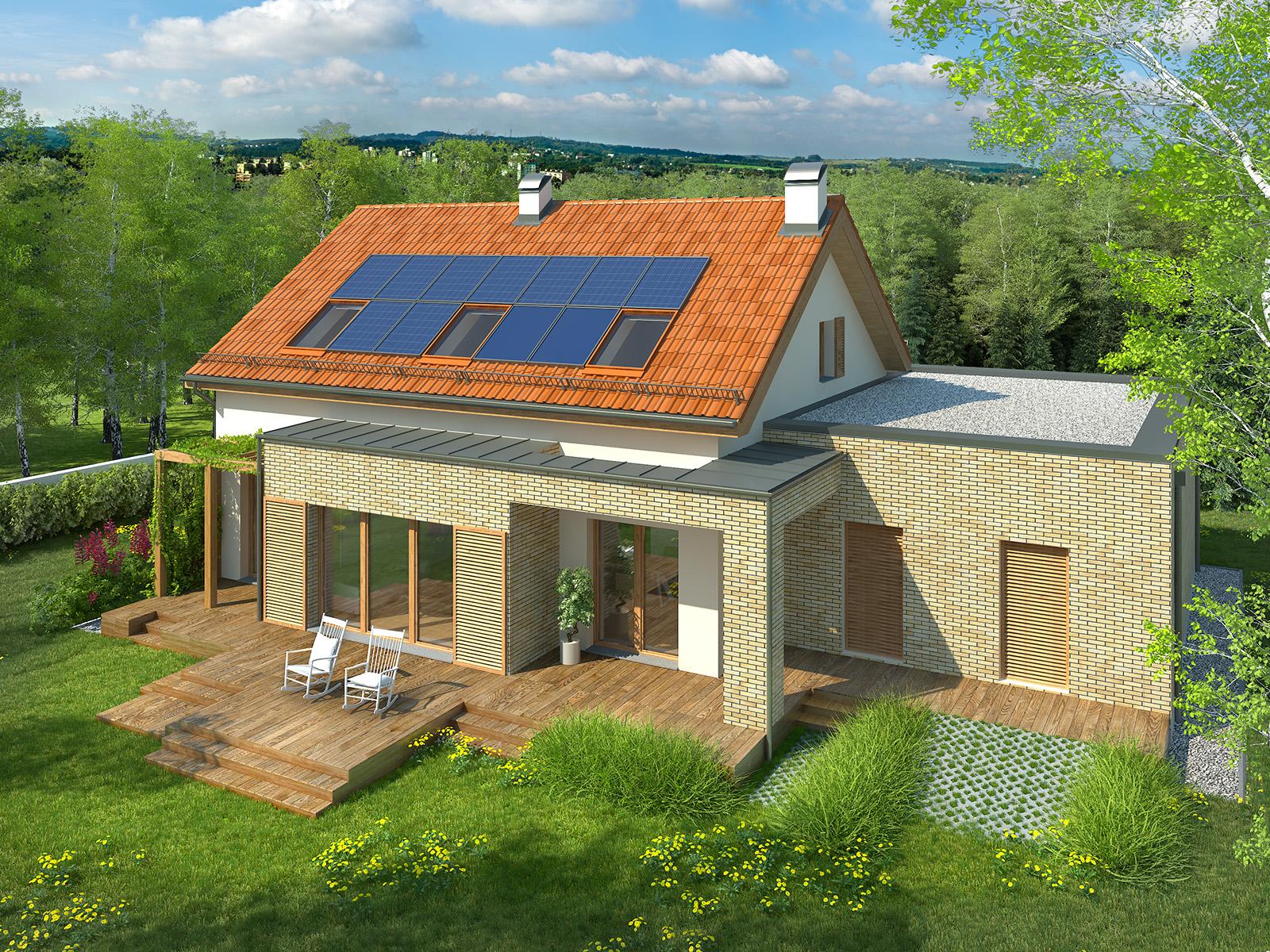 Projekt domu RATAJÓWKA Domy Czystej Energii widok od ogrodu