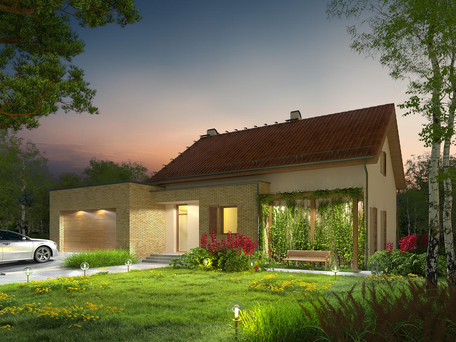 Projekt domu RATAJÓWKA Domy Czystej Energii widok od frontu