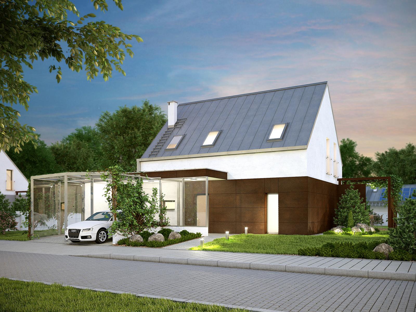 Projekt domu MALUTKI Domy Czystej Energii widok od frontu