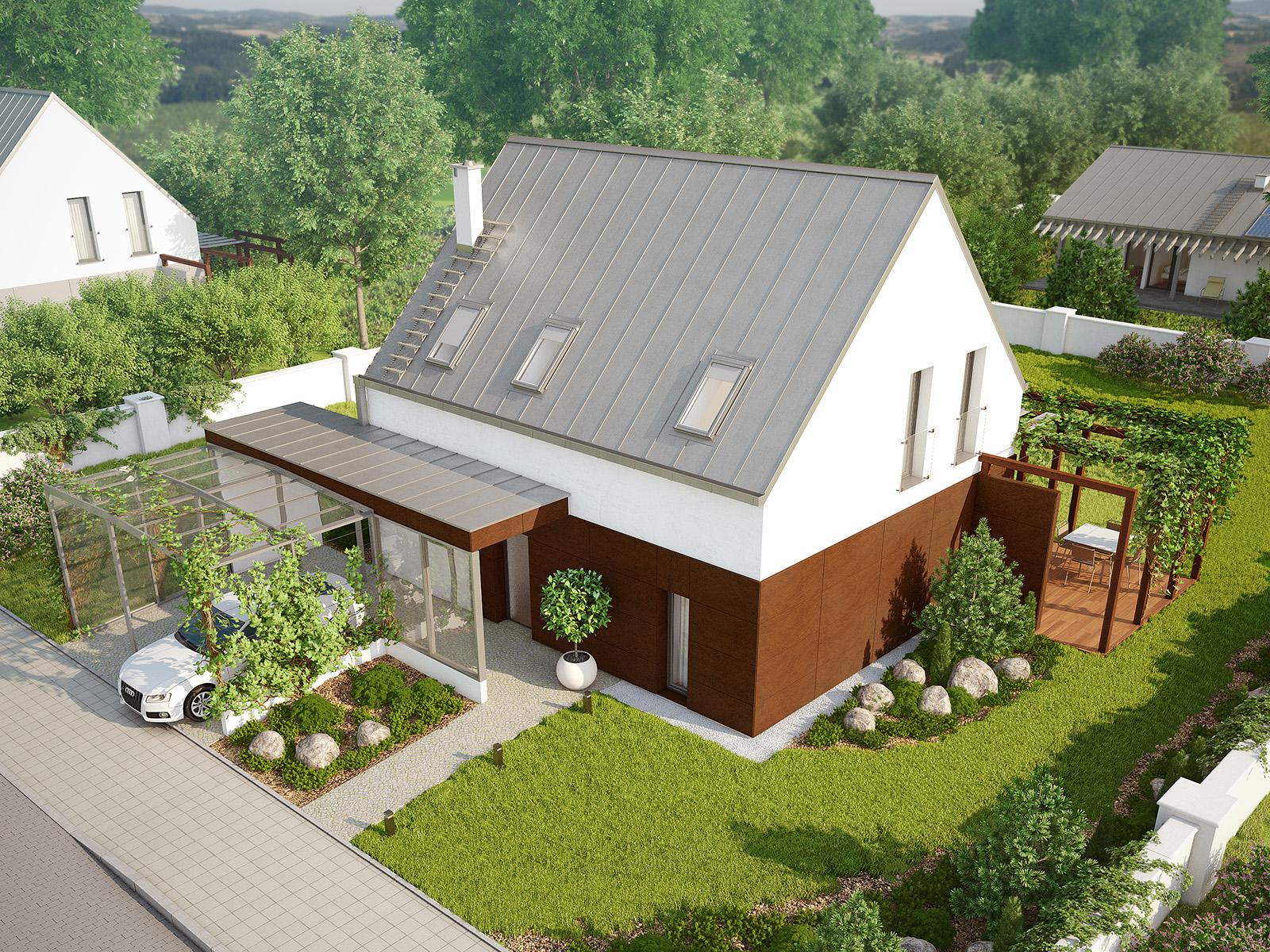 Projekt domu MALUTKI Domy Czystej Energii widok od frontu i z boku