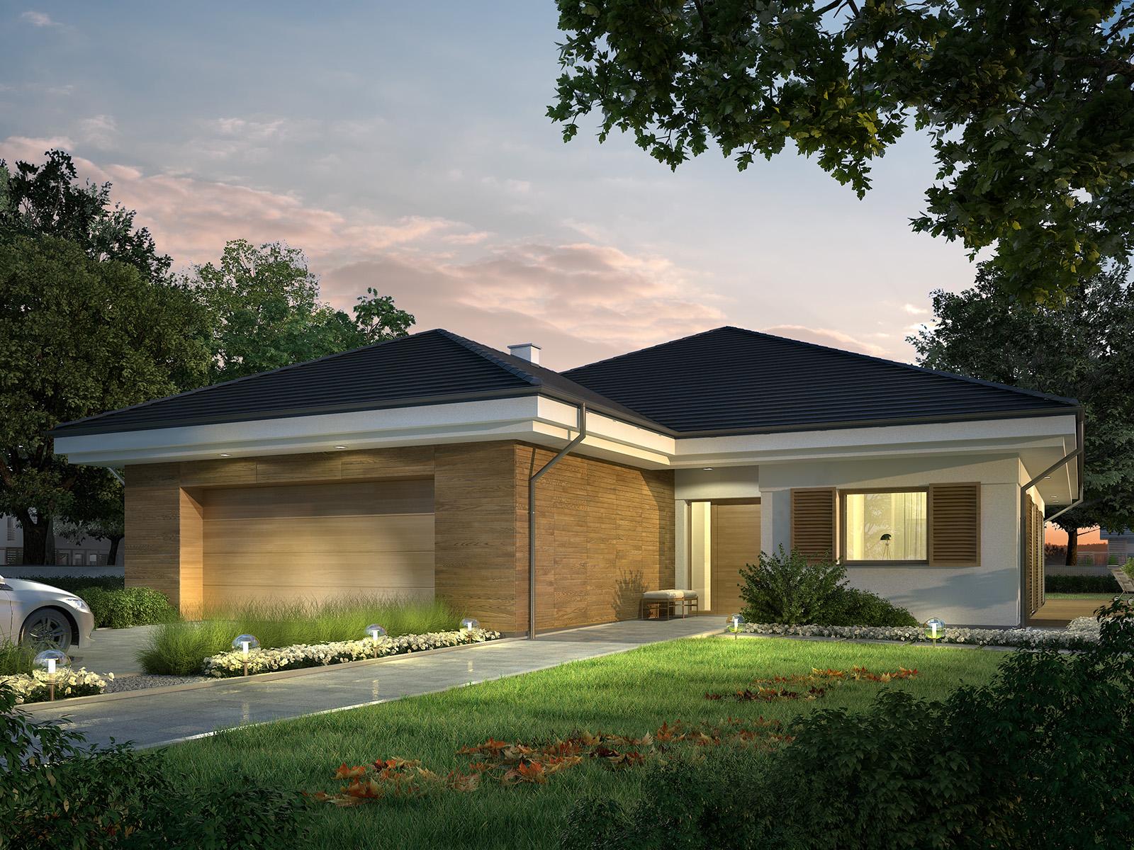 Projekt domu SKRZĘTNY Domy Czystej Energii widok od frontu