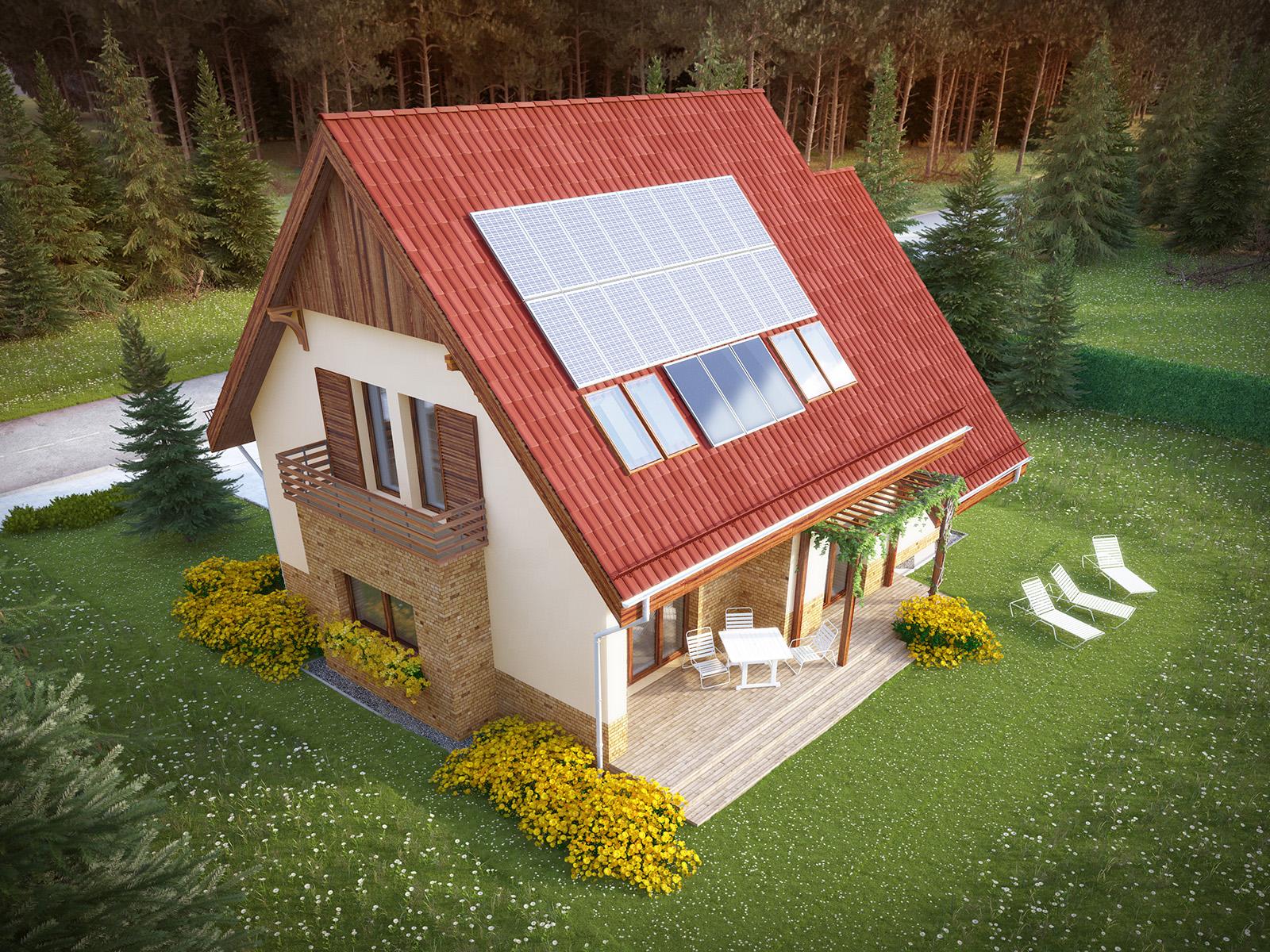 Projekt domu SPOKOJNY Domy Czystej Energii widok od boku i od ogrodu