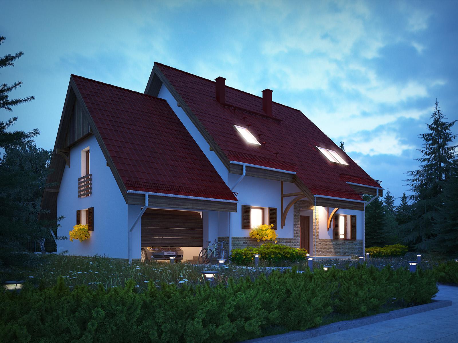 Projekt domu SPOKOJNY Domy Czystej Energii widok od frontu