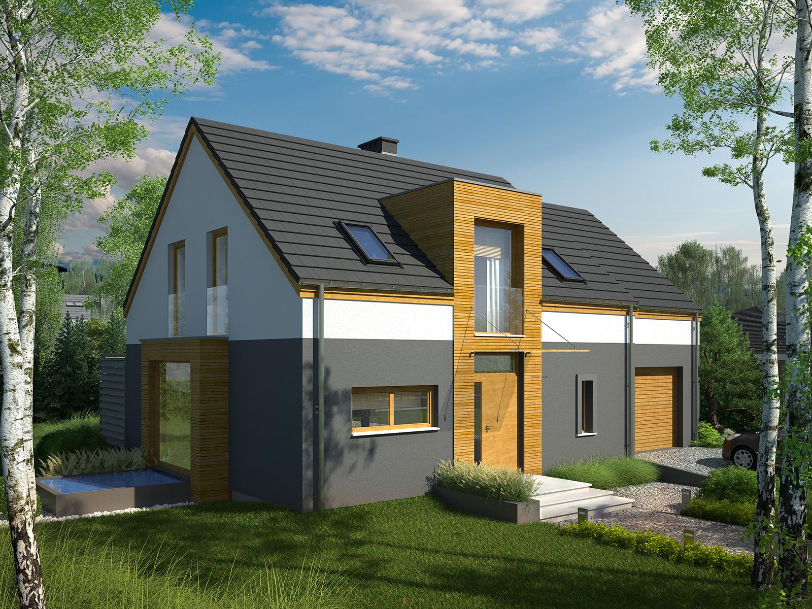 Projekt domu MIGDAŁOWY Domy Czystej Energii widok od frontu