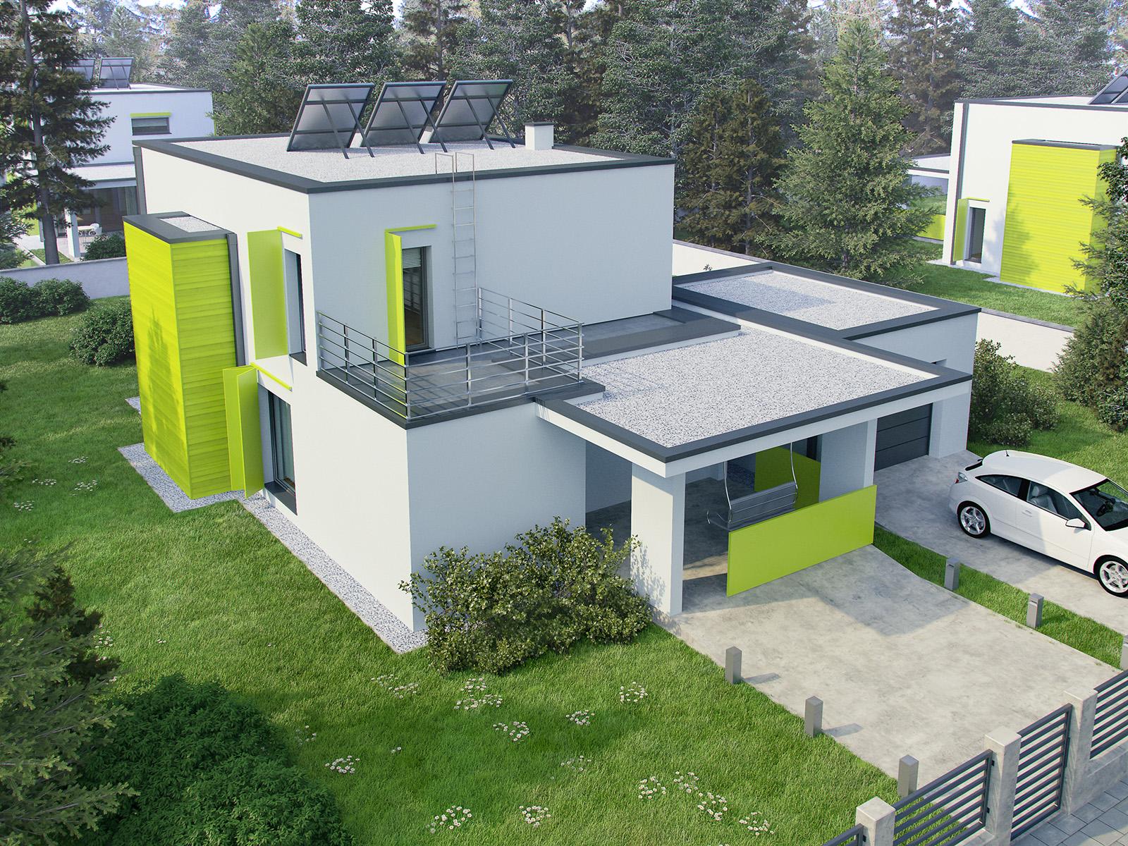 Projekt domu MODERN Domy Czystej Energii widok od frontu