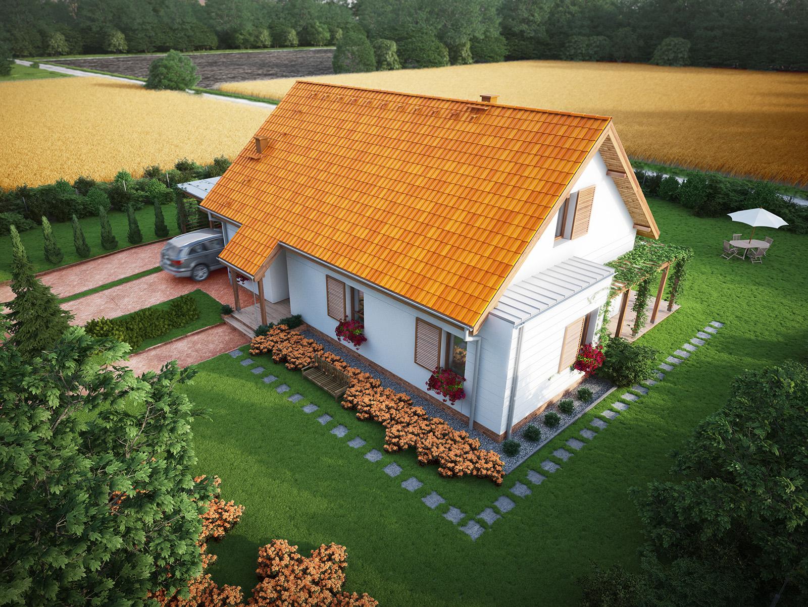 Projekt domu PRZYJAZNY Domy Czystej Energii widok od frontu