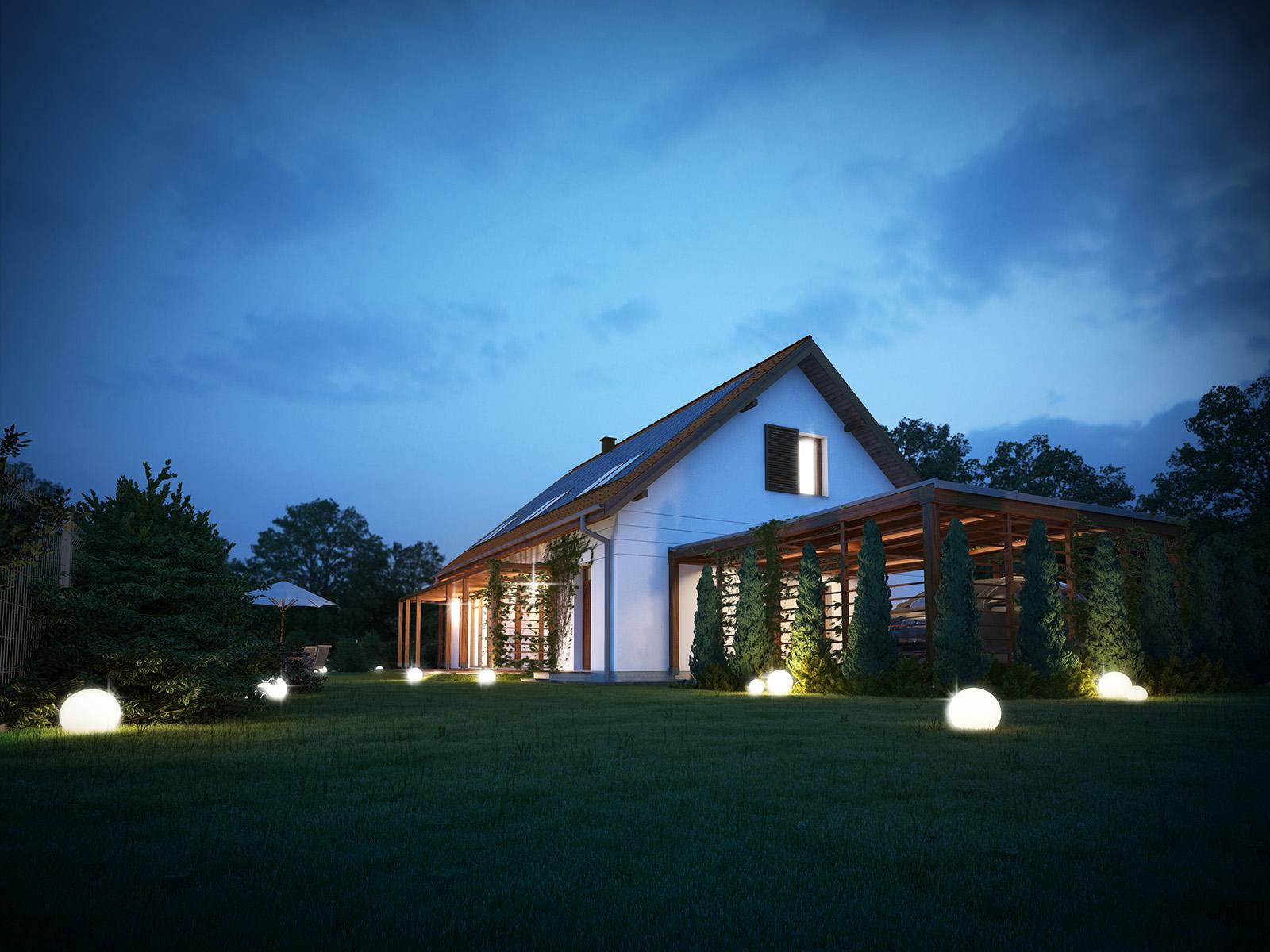 Projekt domu PRZYJAZNY Domy Czystej Energii widok od ogrodu