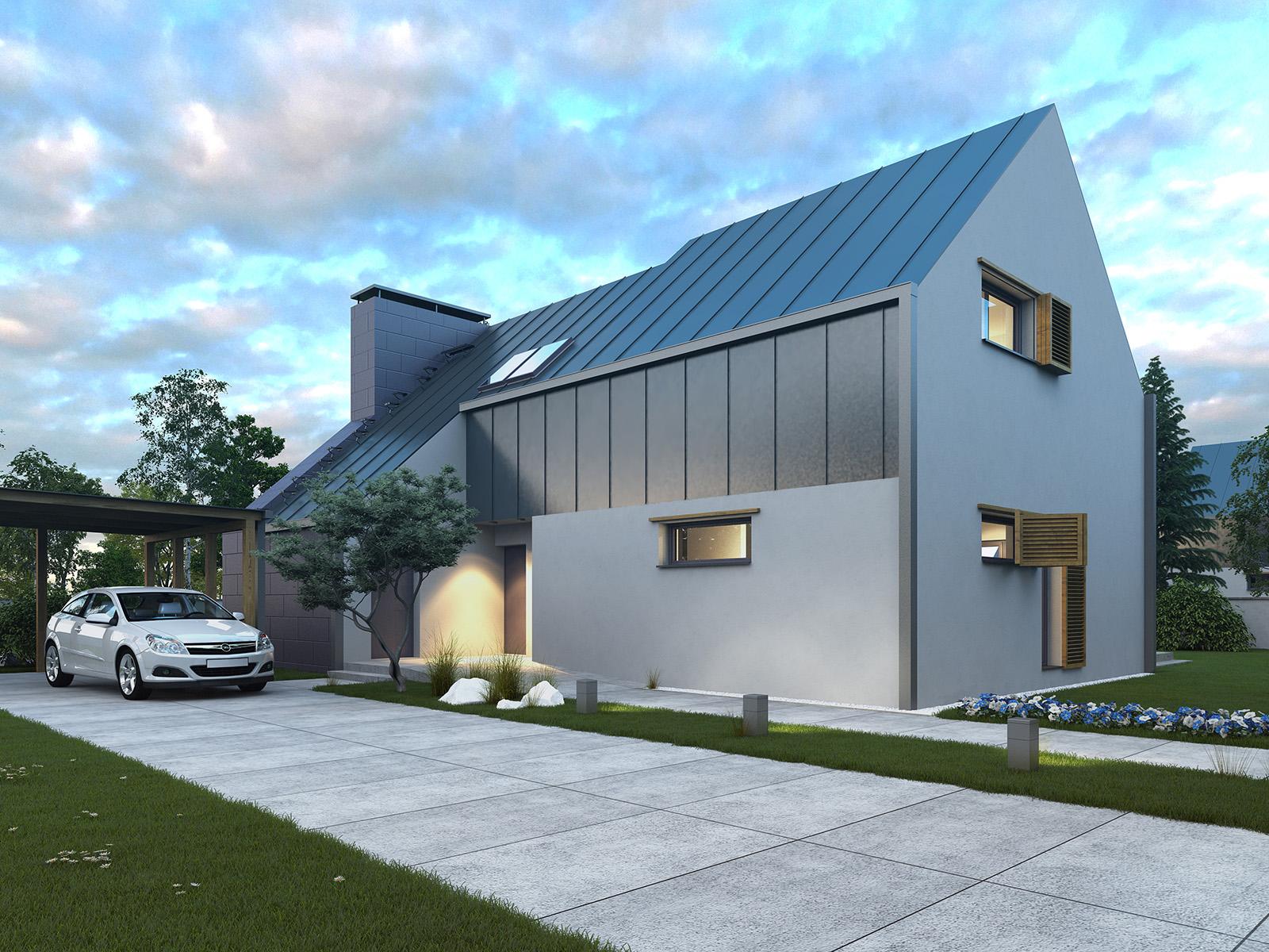 Projekt domu Z KOMINEM Domy Czystej Energii widok od frontu