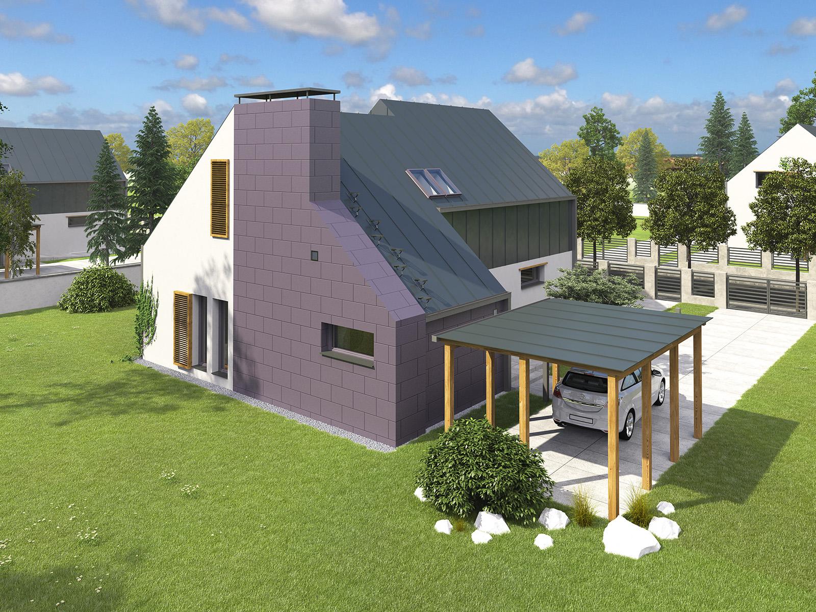 Projekt domu Z KOMINEM Domy Czystej Energii widok od boku i od ogrodu