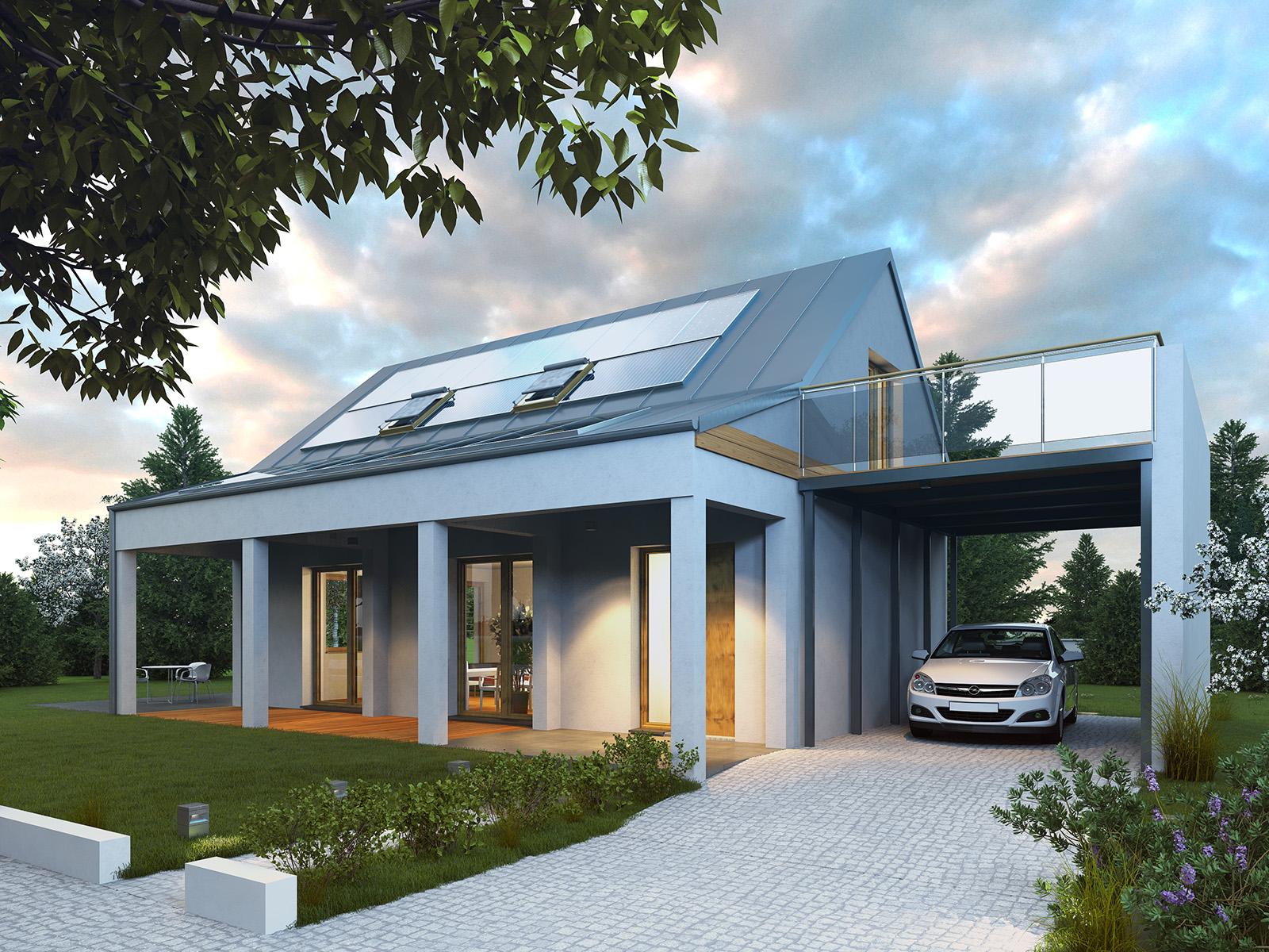 Projekt domu UROCZY Domy Czystej Energii widok od frontu