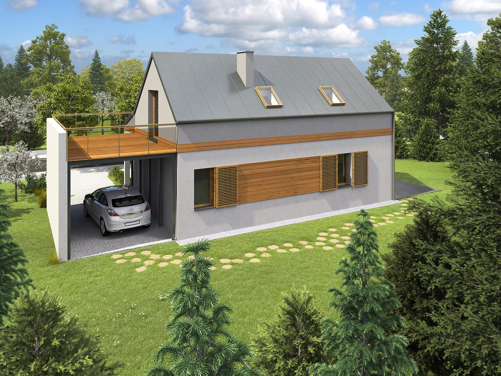 Projekt domu UROCZY Domy Czystej Energii widok od ogrodu