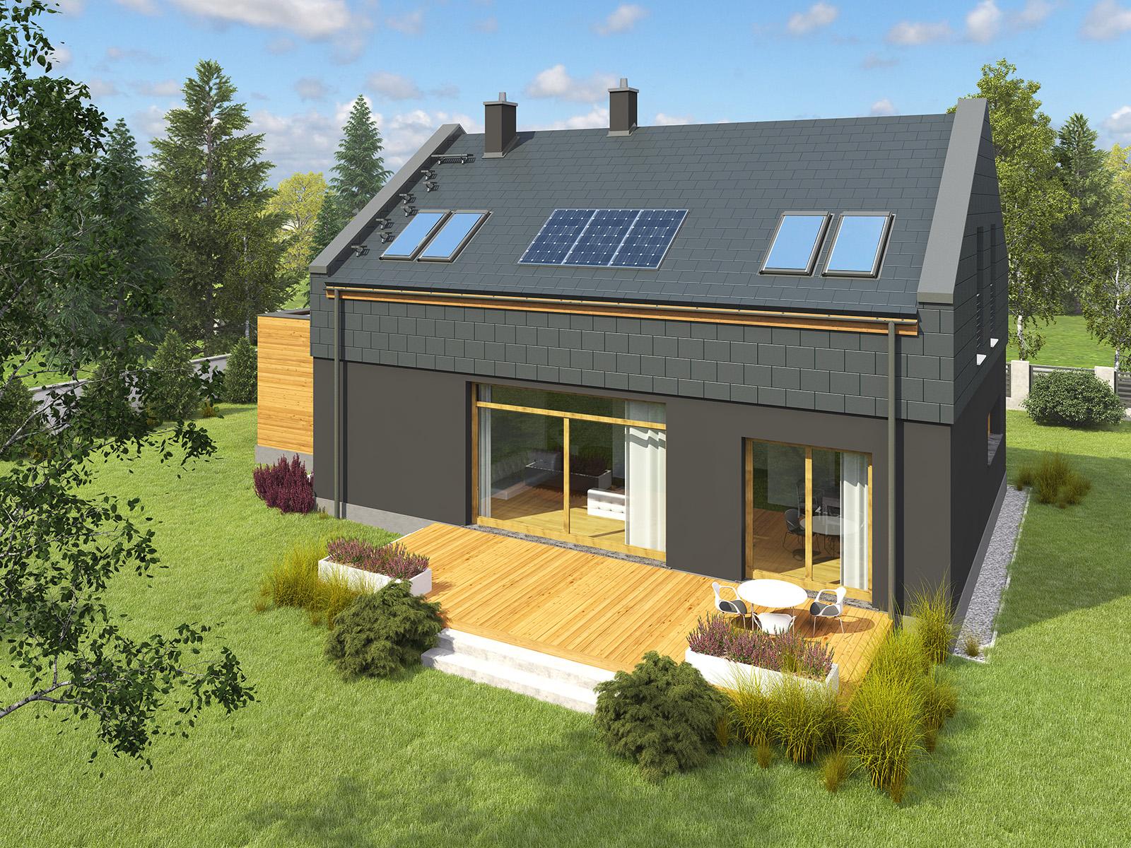 Projekt domu ORZECHOWY Domy Czystej Energii widok od ogrodu