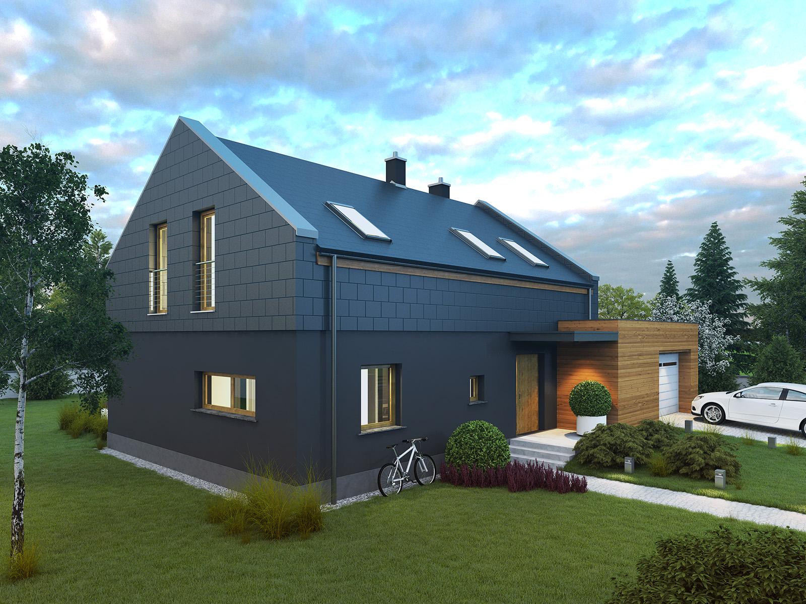Projekt domu ORZECHOWY Domy Czystej Energii widok od frontu
