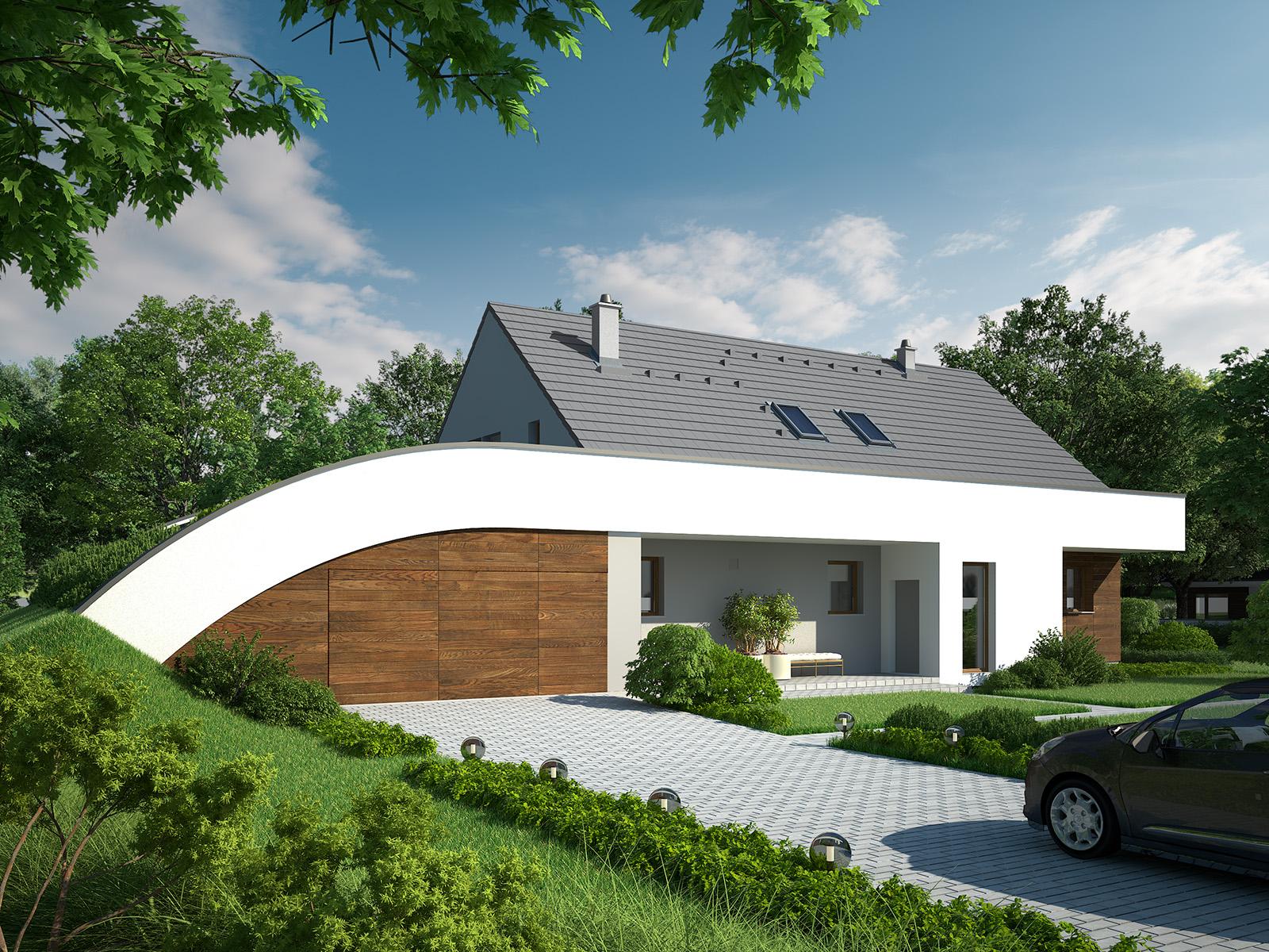 Projekt domu MAJA Domy Czystej Energii widok od frontu