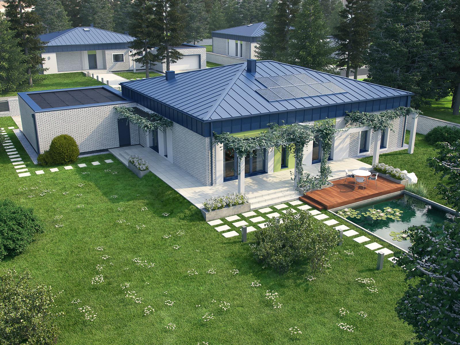 Projekt domu PARTEROWY I Domy Czystej Energii widok od ogrodu
