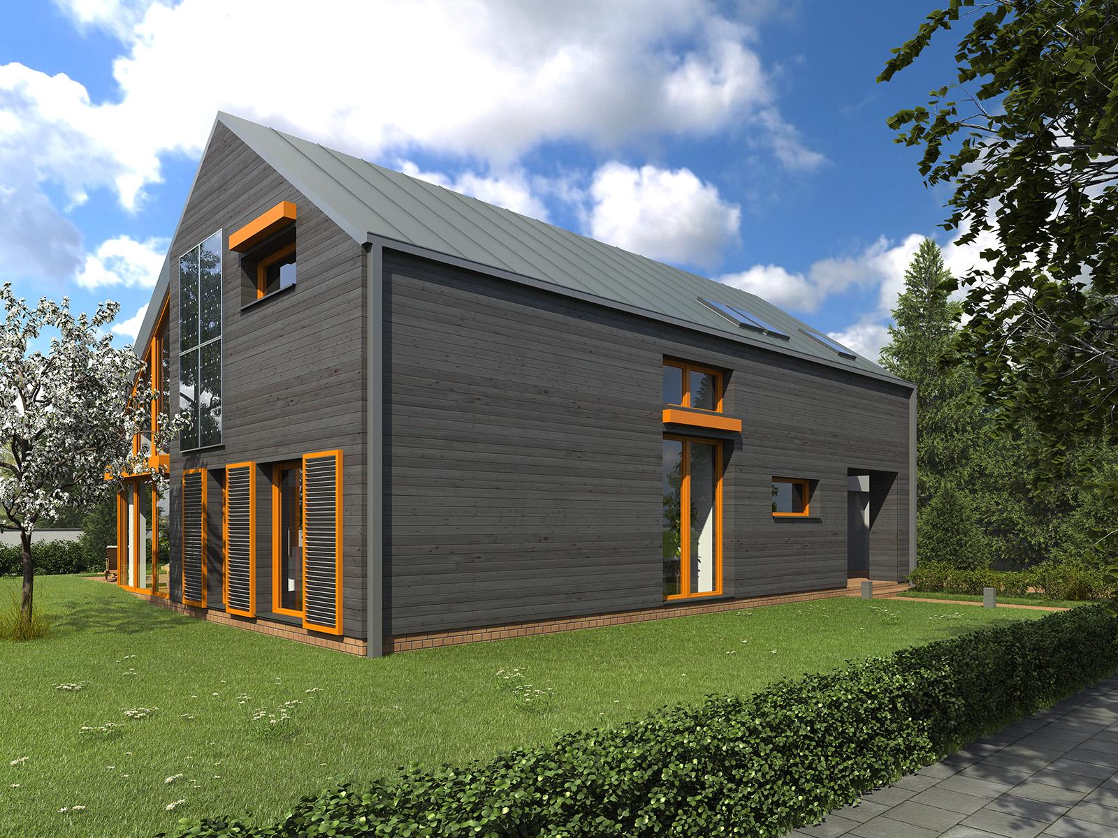 Projekt domu WYCIĘTY Z ANTRESOLĄ Domy Czystej Energii widok od frontu