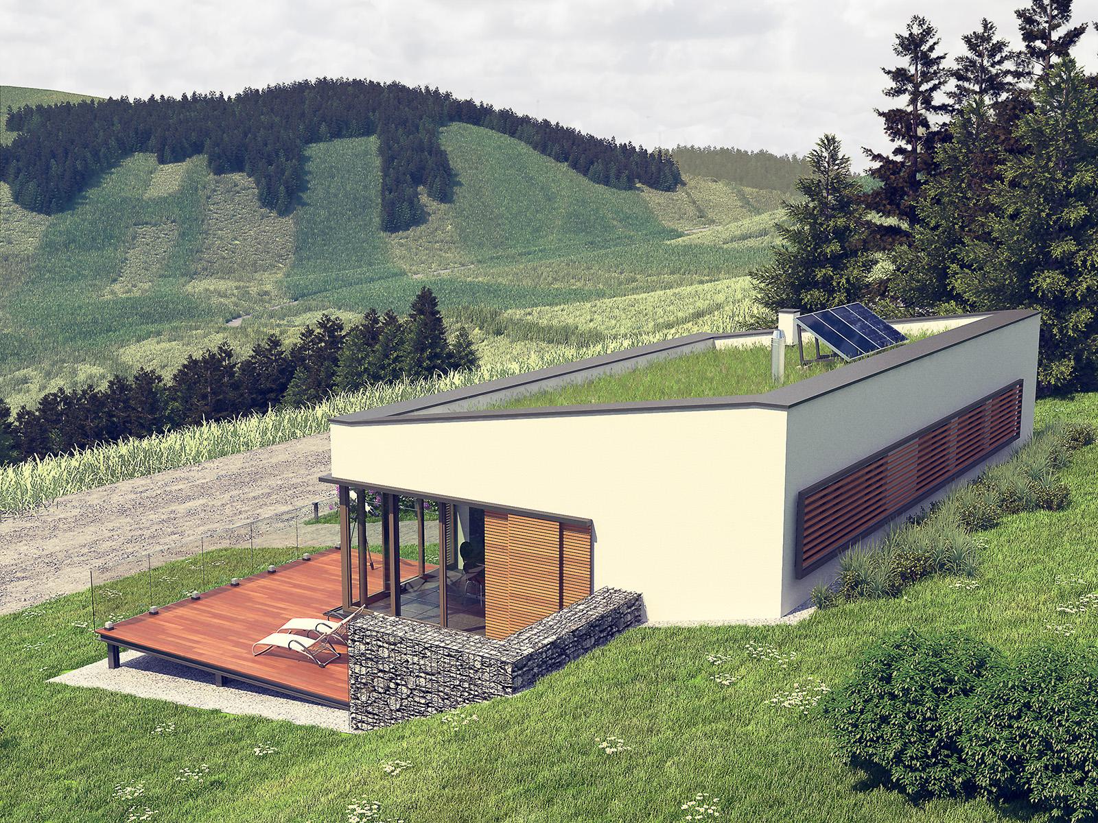 Projekt domu OTULONY Domy Czystej Energii widok od boku