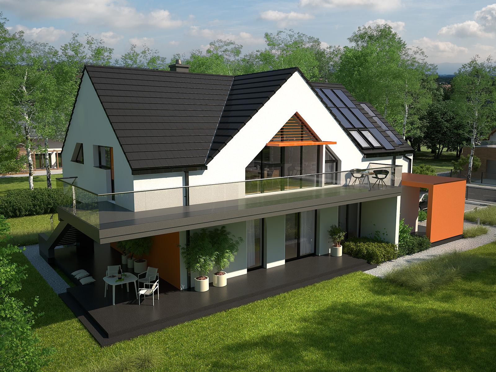 Projekt domu Z USŁUGĄ Domy Czystej Energii widok od boku i od ogrodu