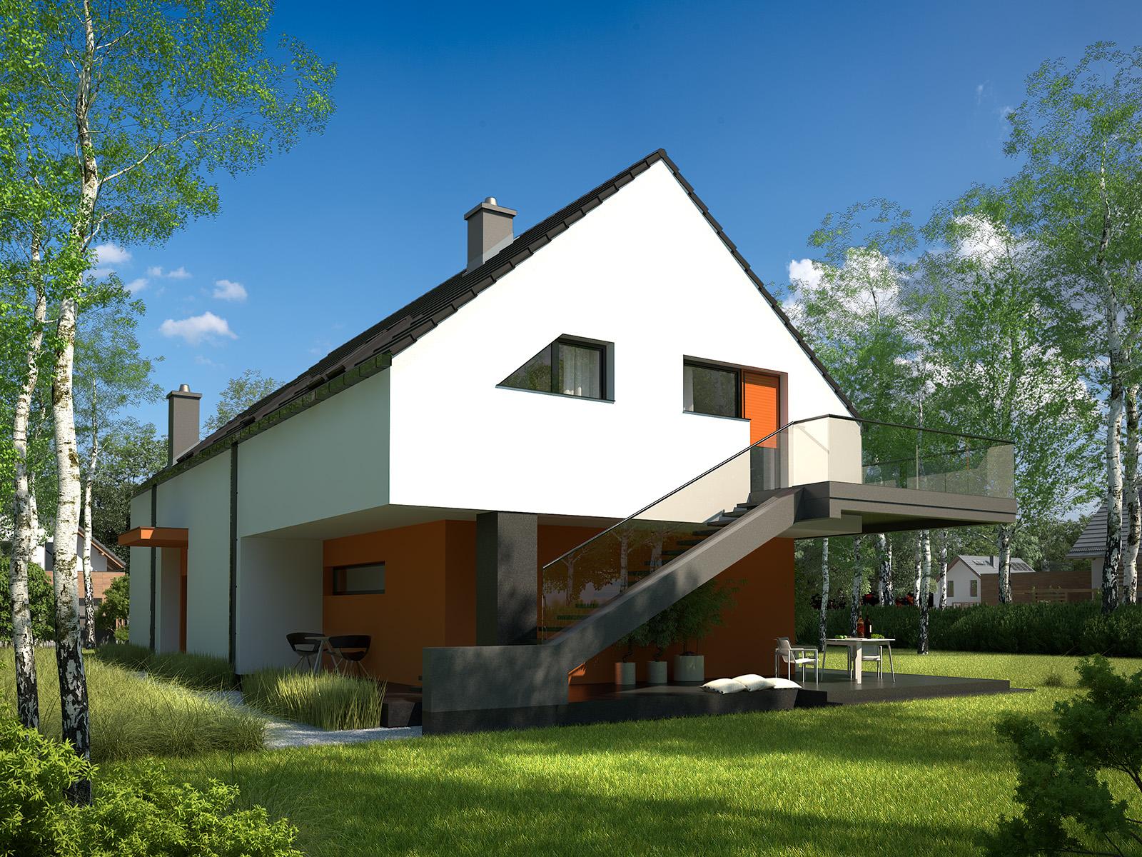 Projekt domu Z USŁUGĄ Domy Czystej Energii widok od ogrodu